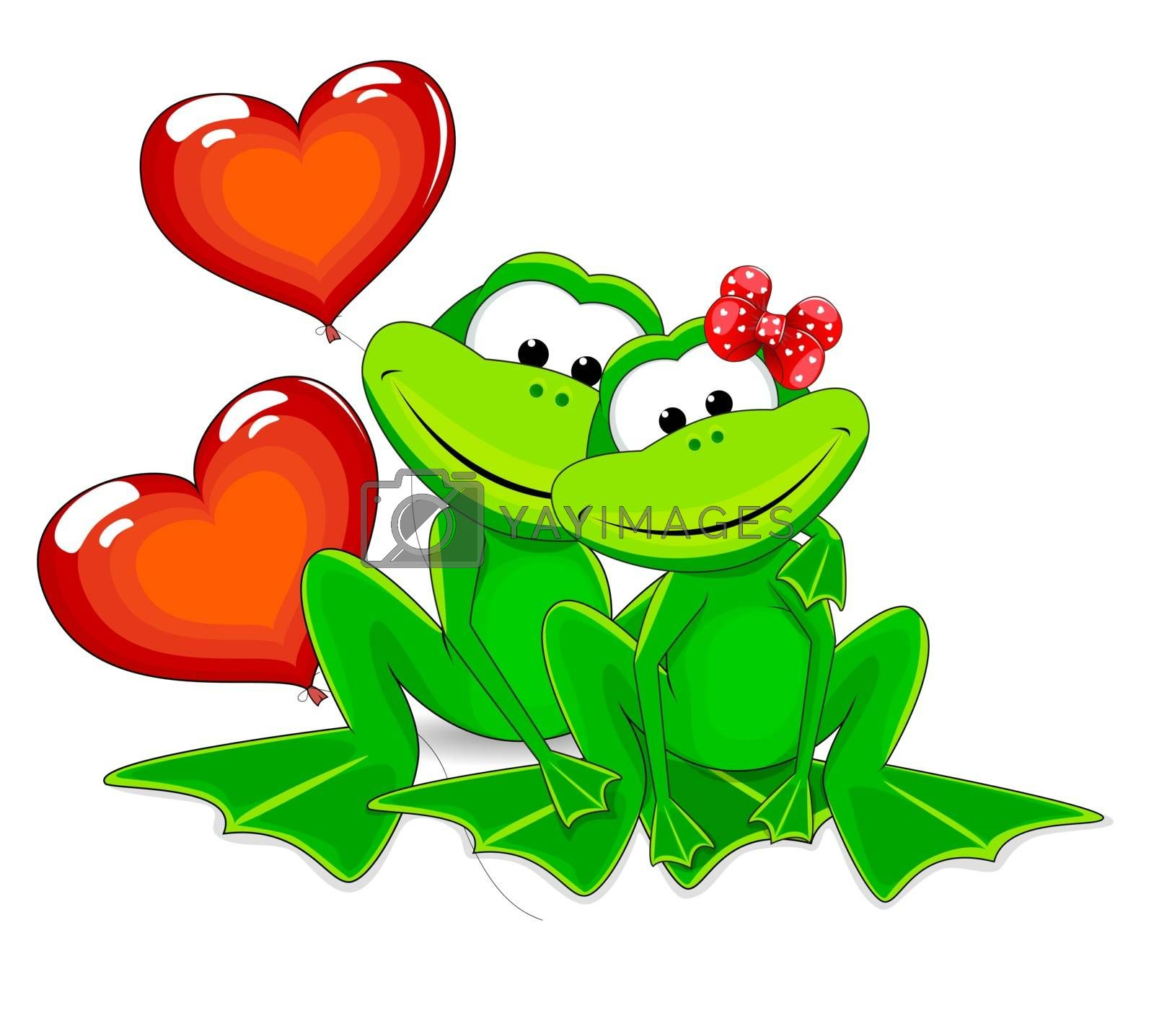 Two green frog with balloons. Frogs and two red balloons in the form of heart.