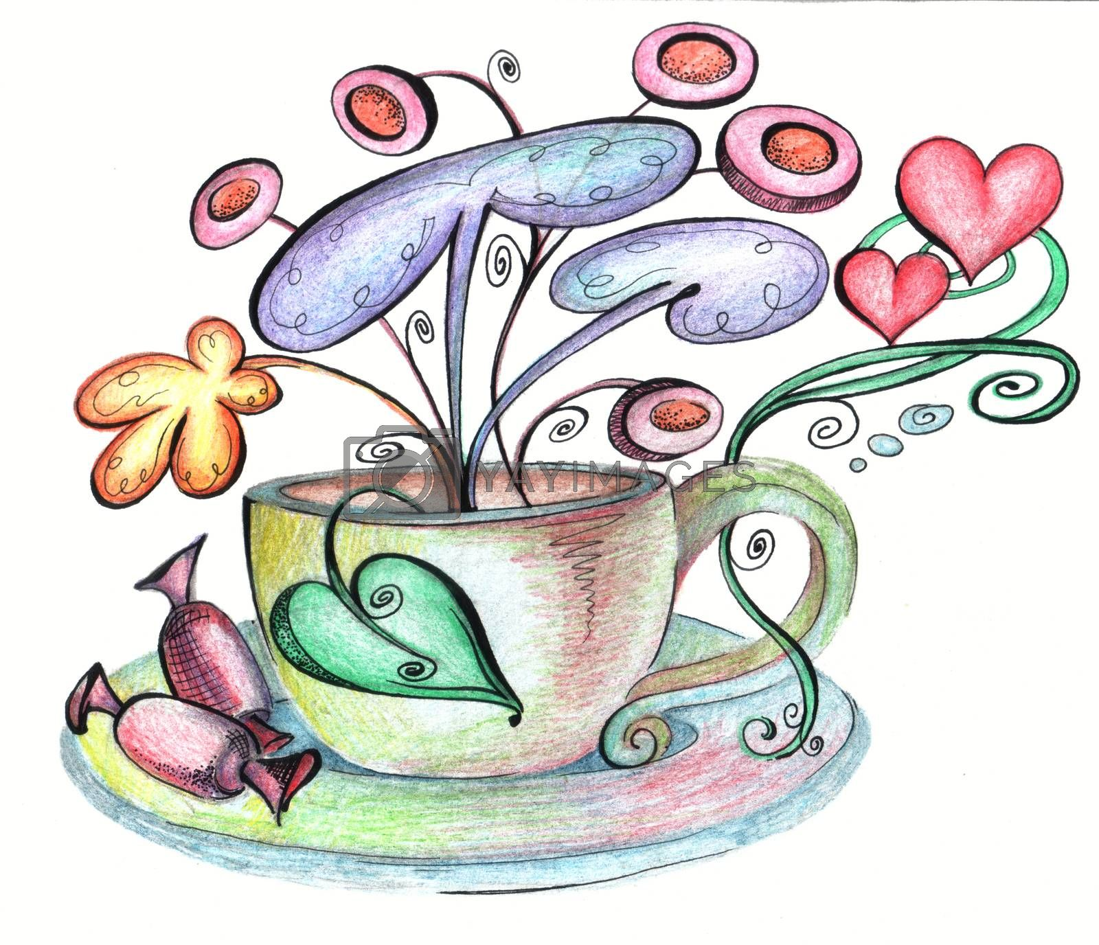 Stylized cup and saucer and chocolates from which strange flowers grow