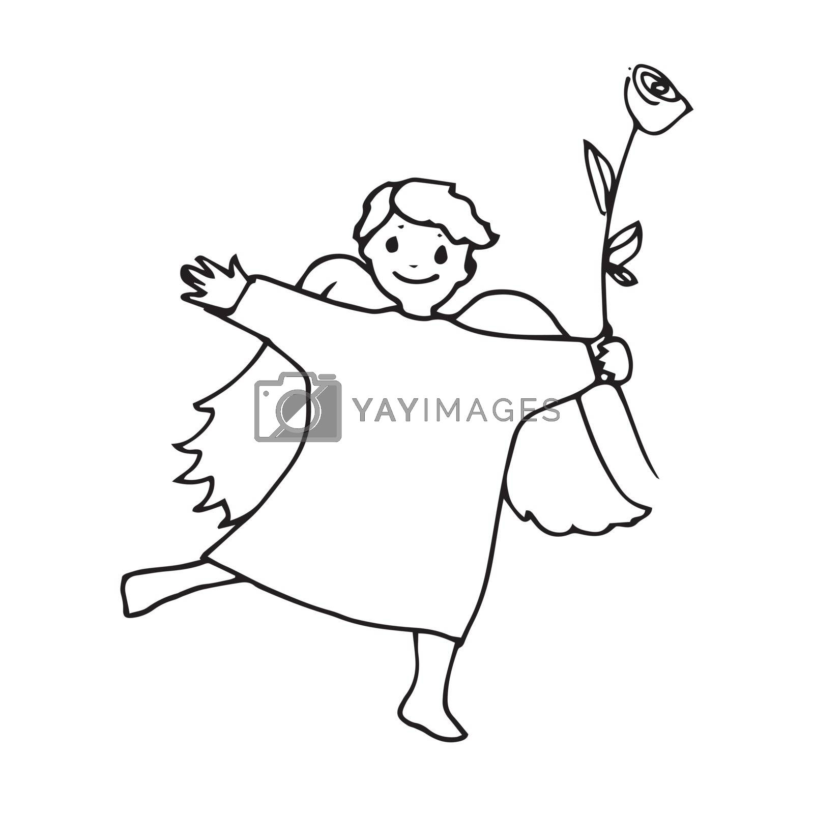 Angel cute little man flower big rose. Sketch hand-drawing contour vector graphics. Illustration for coloring