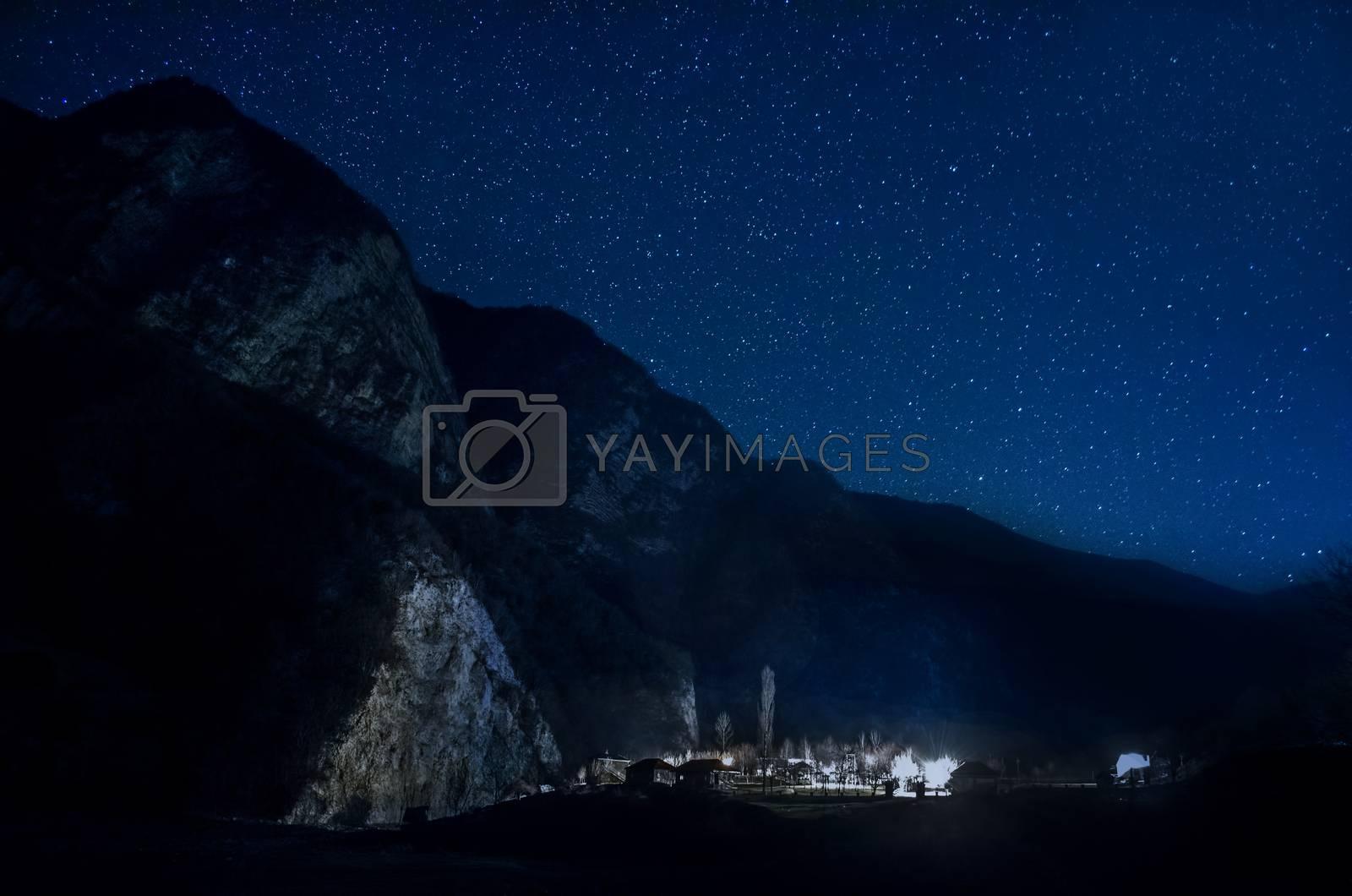 Beautiful stars on night sky over the mountains of Ilisu, Gakh, Azerbaijan