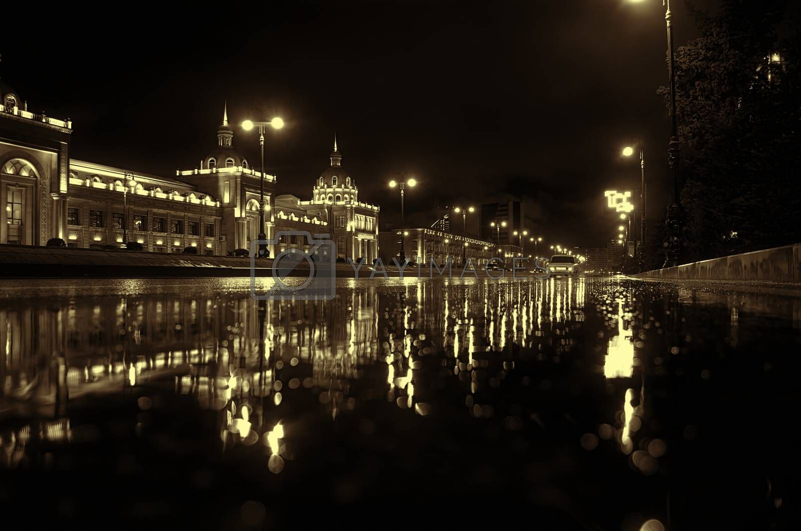 Rainy night in the Baku city, the cars headlights shine through the mist. Close up view from the level of the dividing line, selective focus