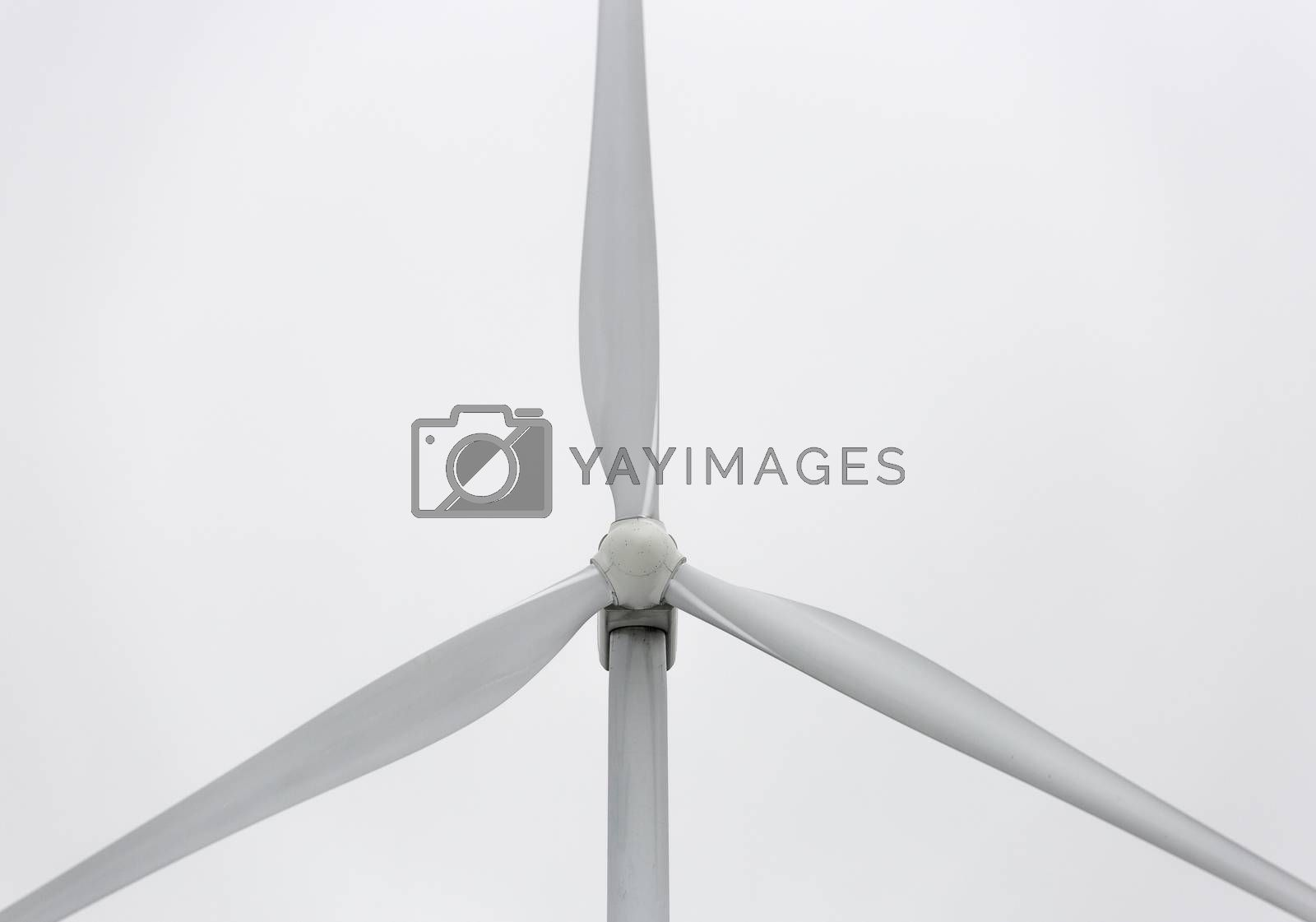 Wind Power Station Close Up with a gray background.