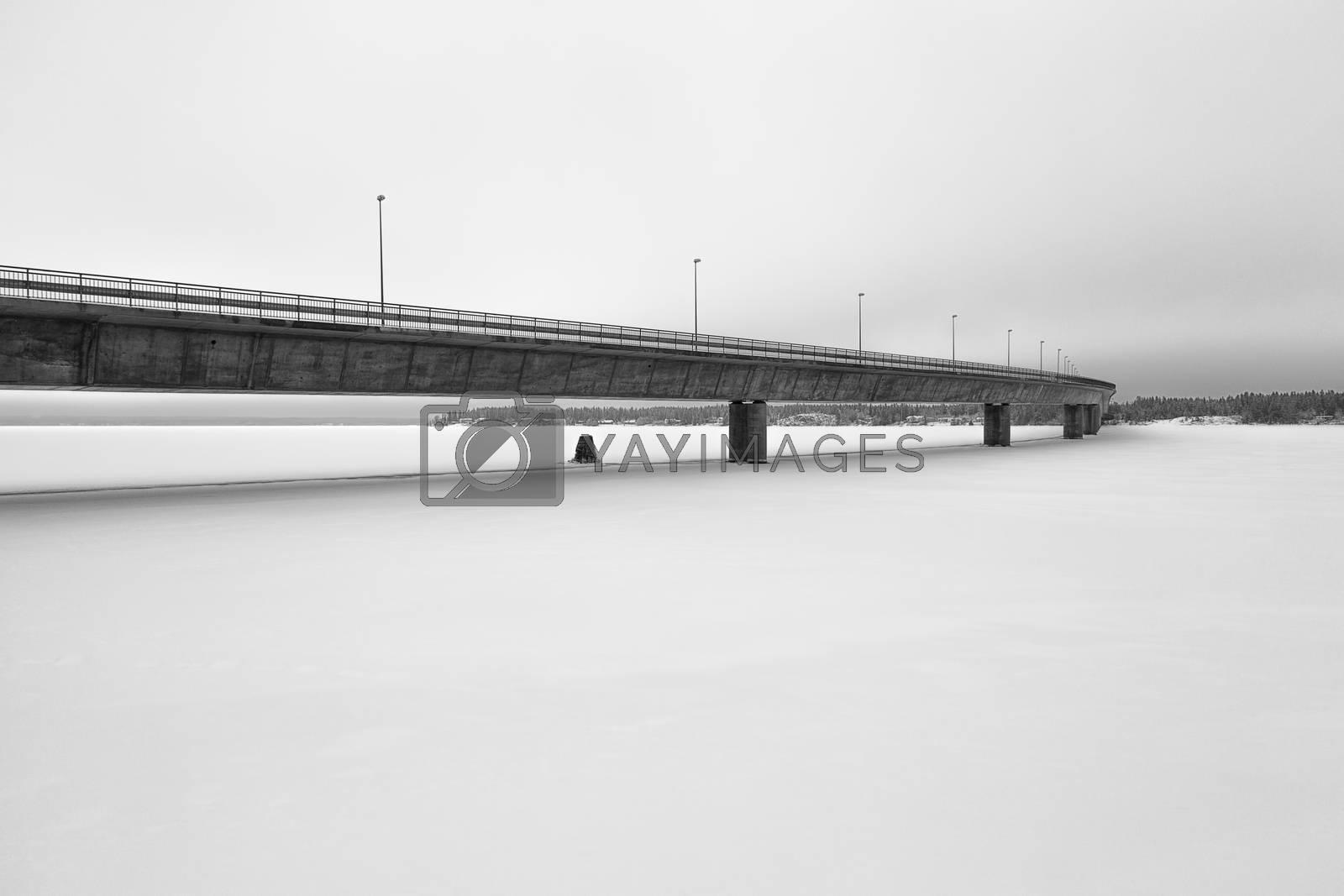 Bridge over River in Holmsund (Umea), Sweden.