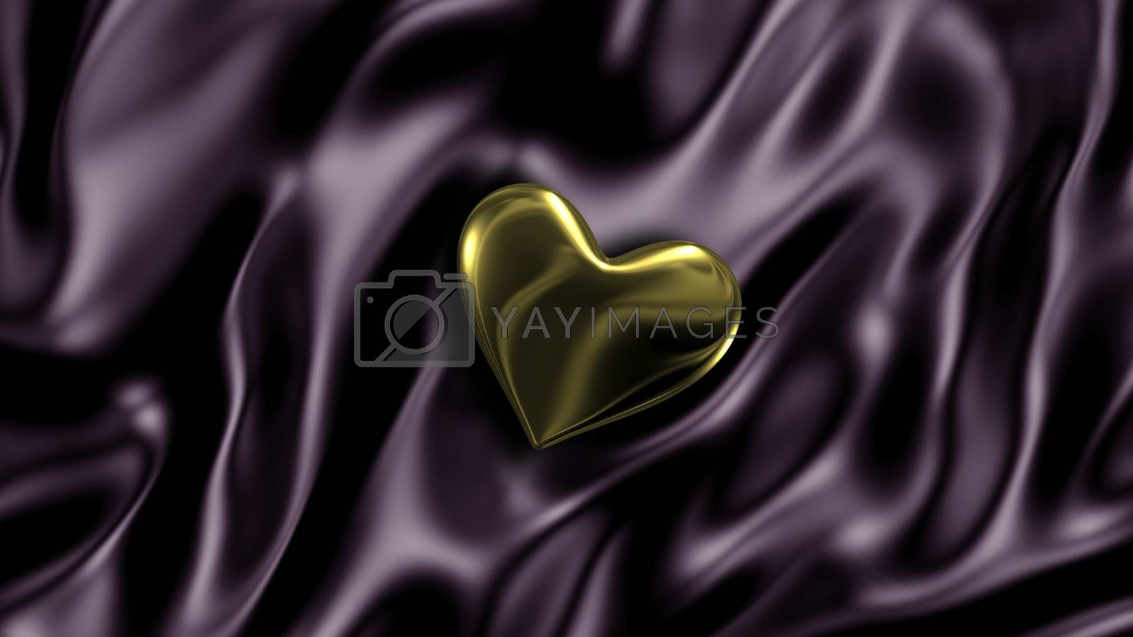 3D illustration Abstract Black background with Gold Heart