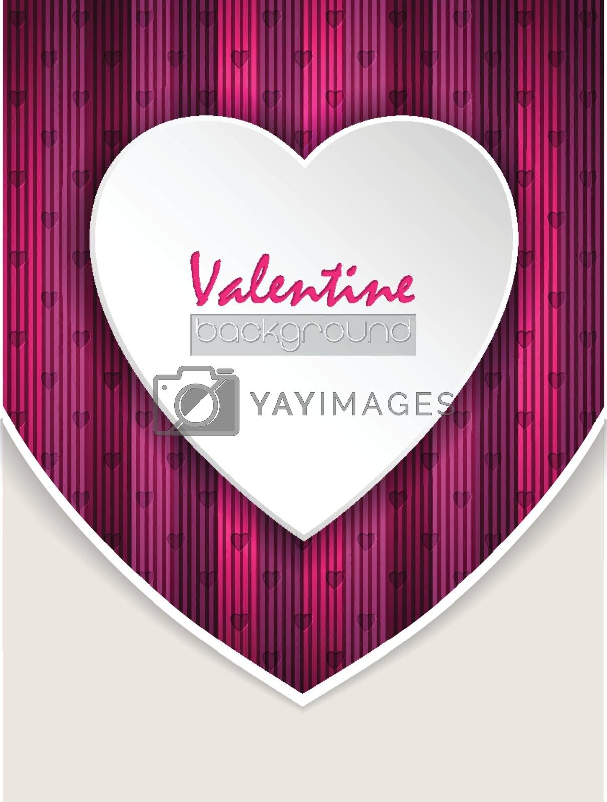 Valentine day greeting card with striped pink background