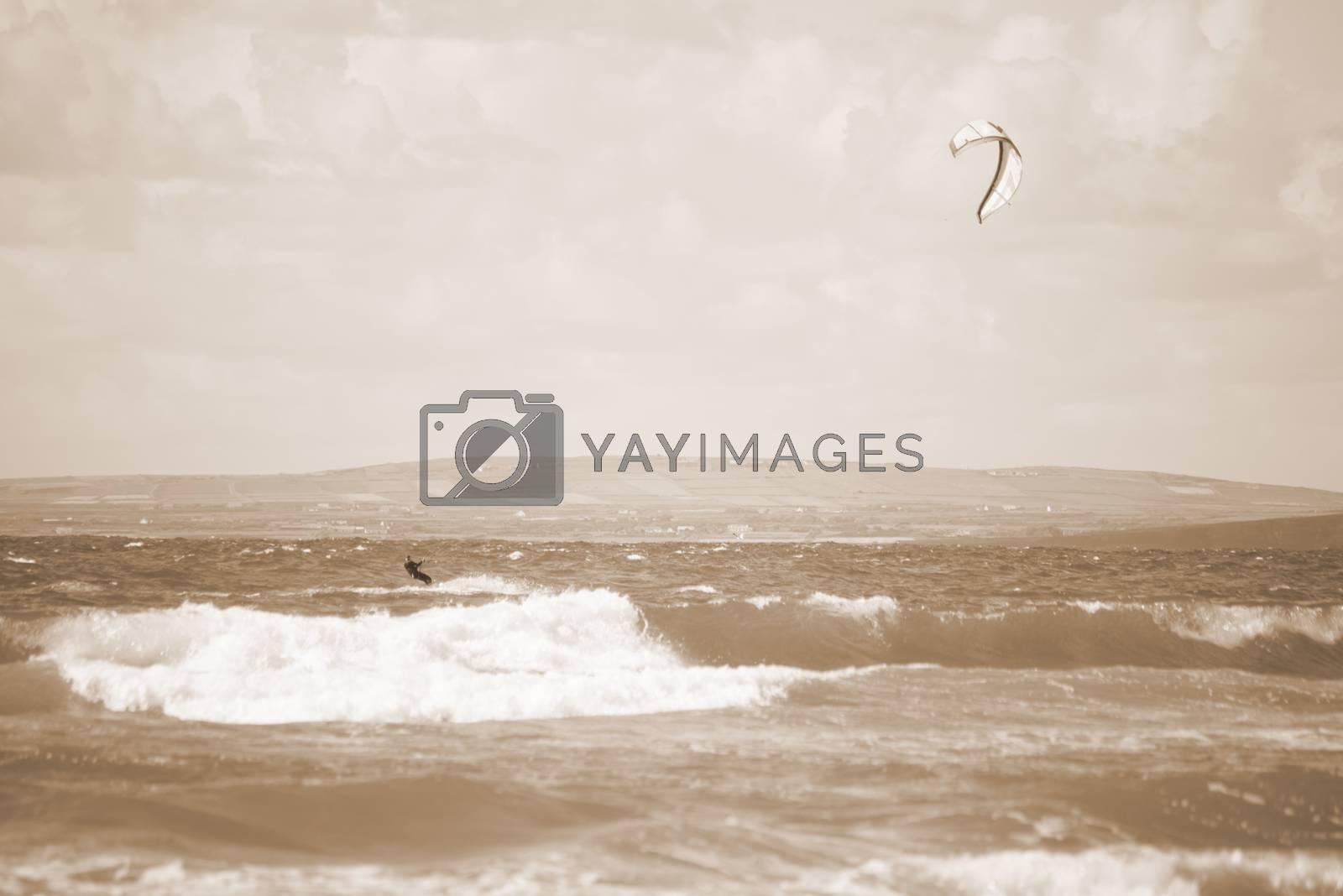 kite surfer on beautiful waves at beach in ballybunion county kerry ireland on the wild atlantic way