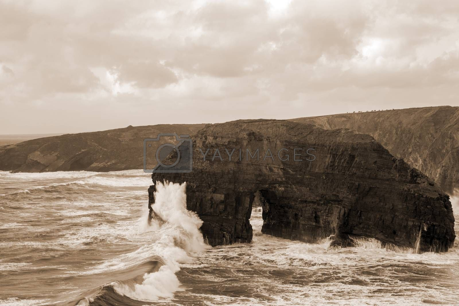 beautiful view of the virgin rocks with storm waves on the wild atlantic way