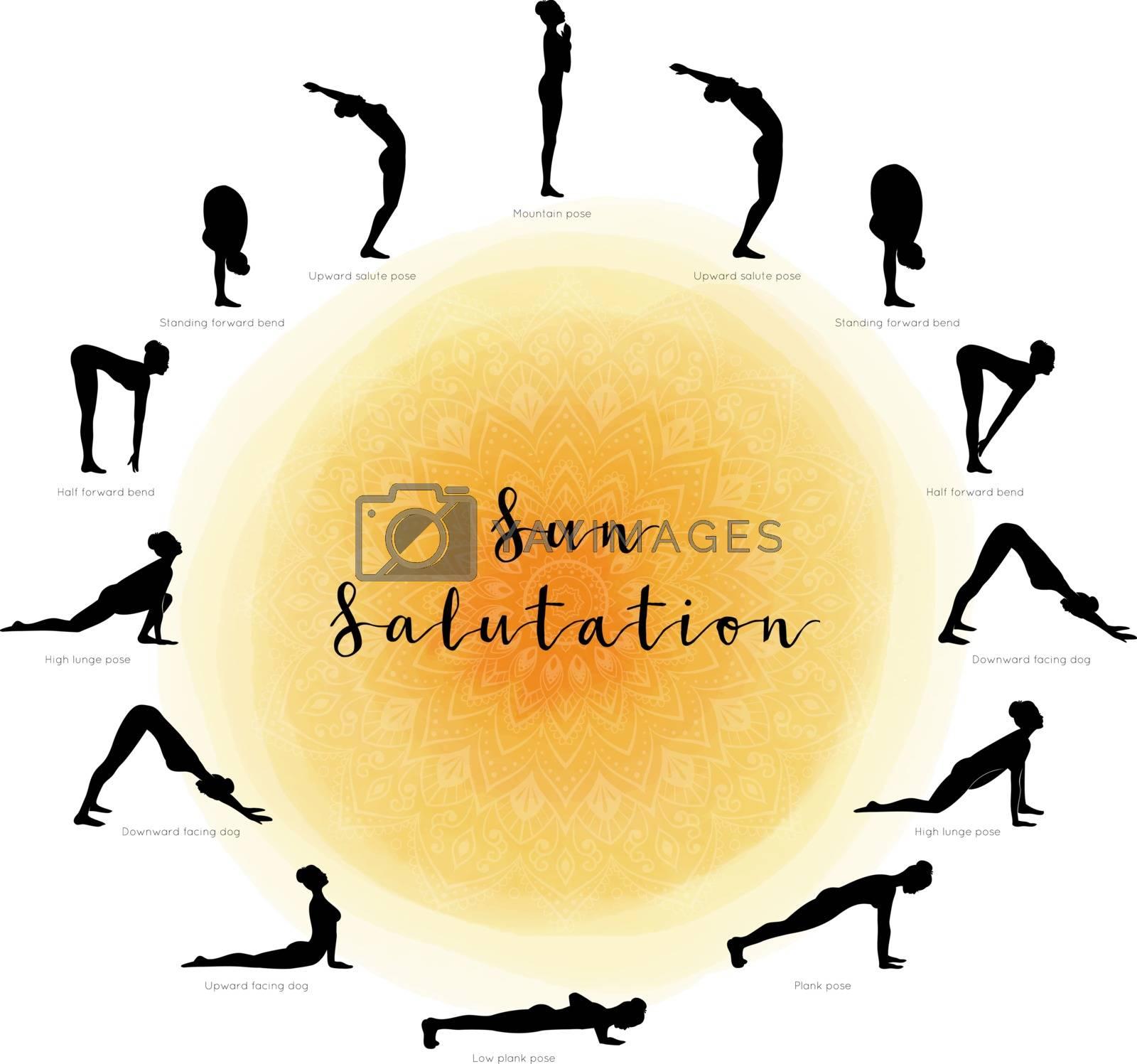 Vector illustration of Sun Salutation. Surya Namaskara