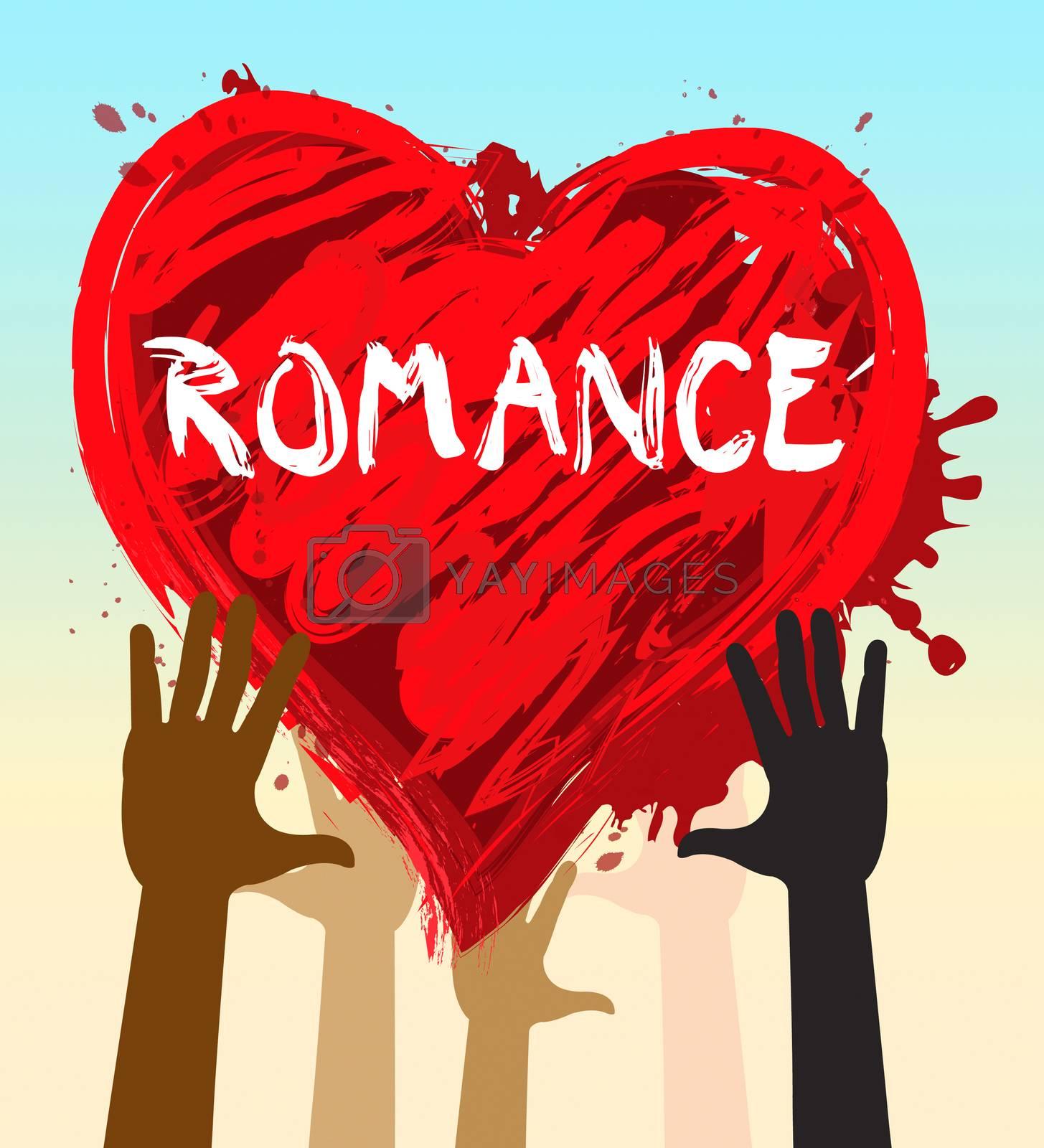 Hands Holding Romance Heart Shows Love Celebration 3d Illustration