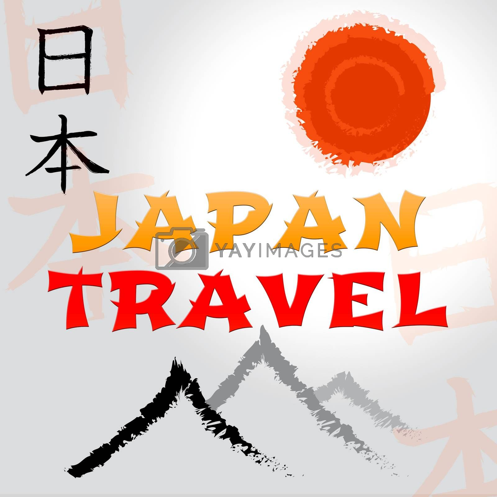 Japan Mountain And Sun Symbols Travel Shows Japanese Guide And Tours