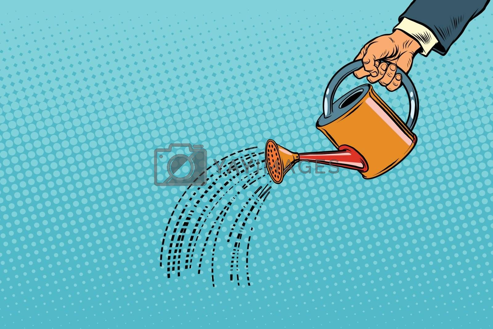 businessman watered from a watering can. Vintage pop art retro vector. Startup and Business Incubator