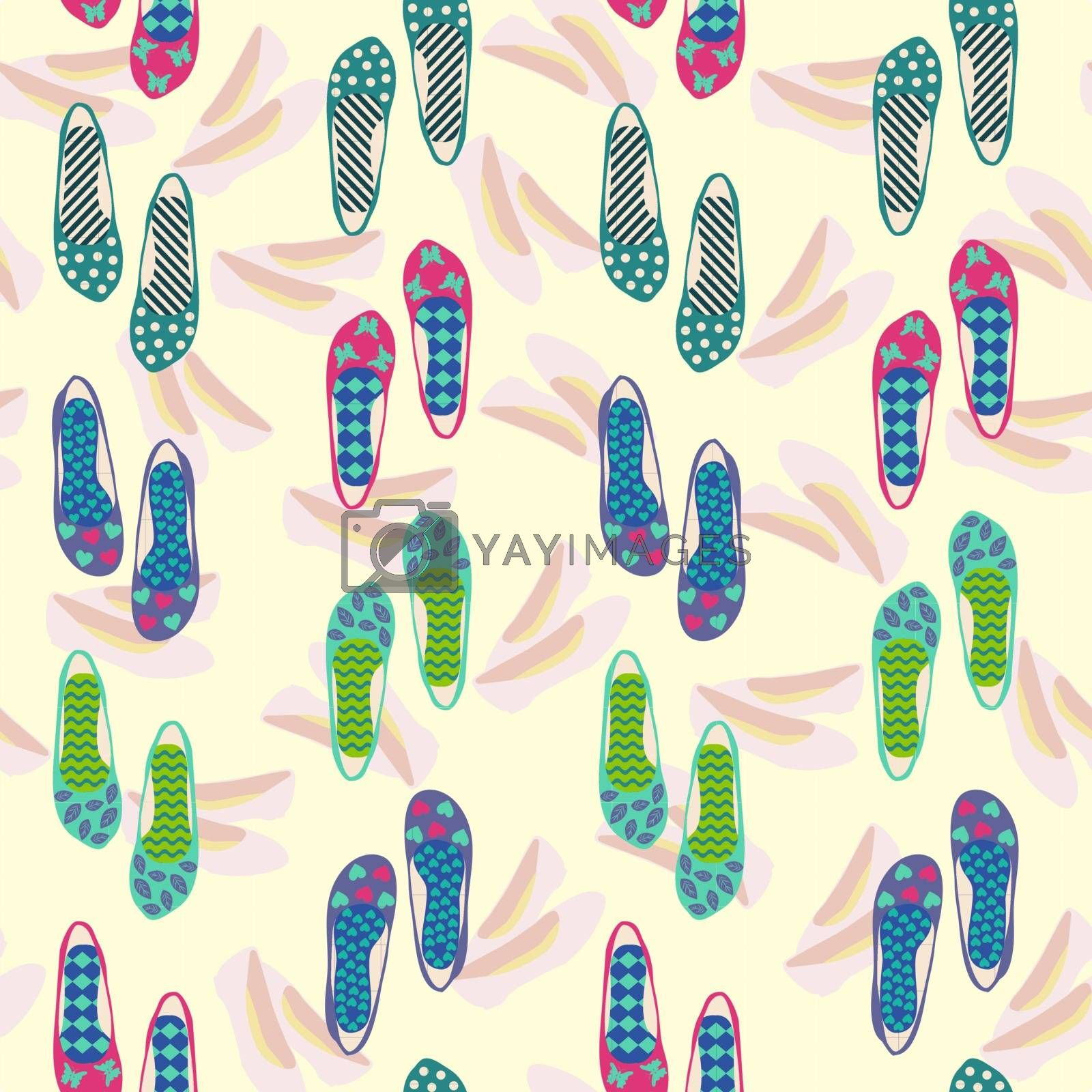 Colorful pattern  of fashion vintage shoes, fashion beautiful background. Vector illustration