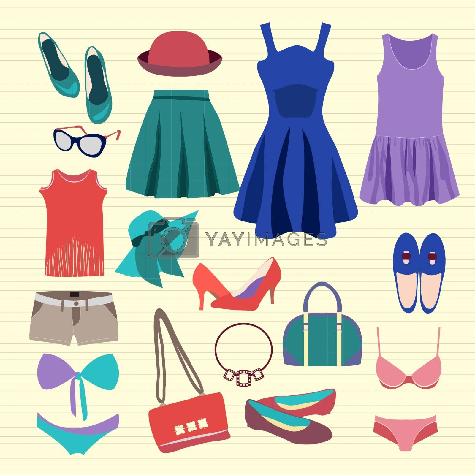 Vector Fashion Collection of  summer clothes (skirts, shorts, swimsuits, hat and accessories) - Illustration