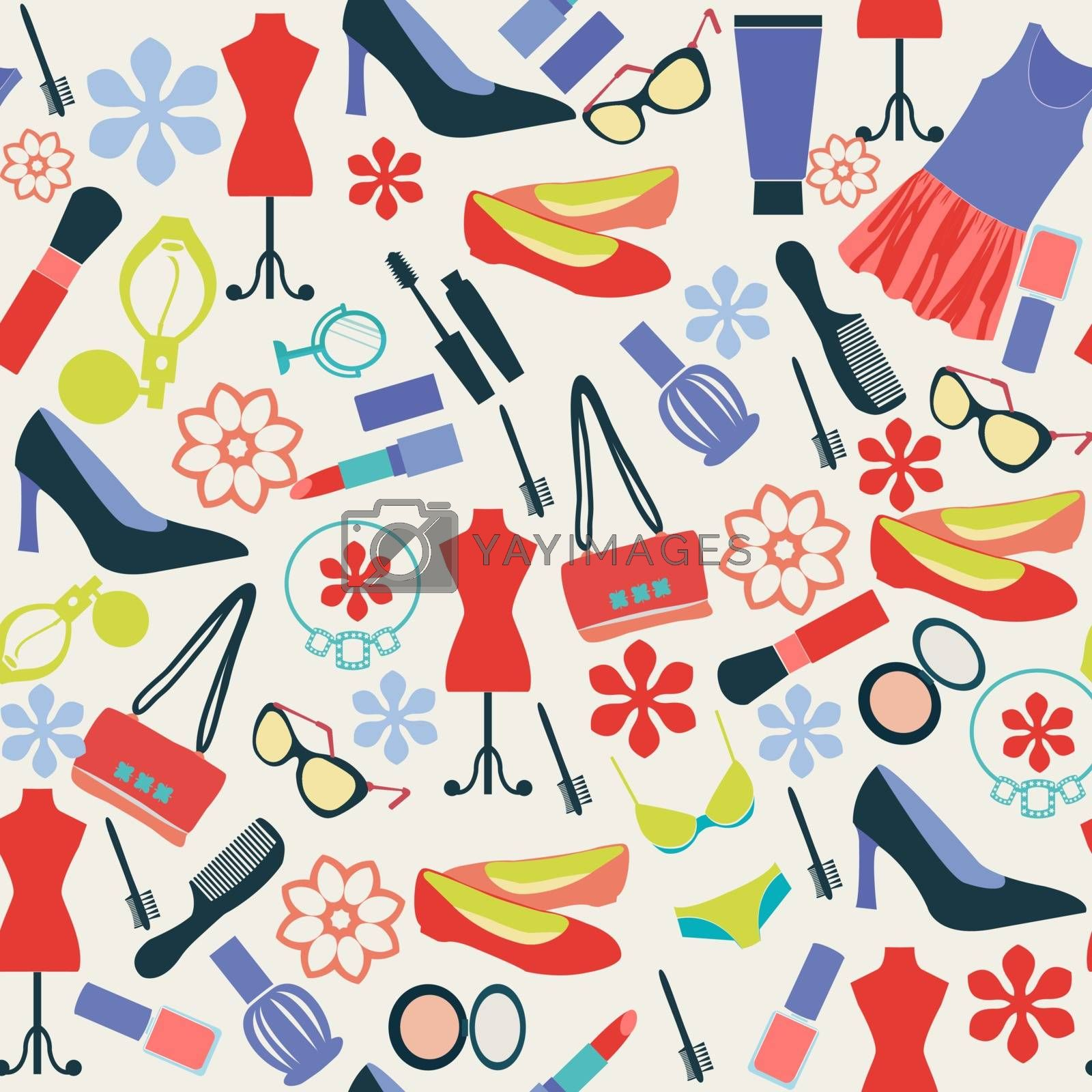 Vector Fashion background cloth and accessories, beauty in  Flat style - Illustration