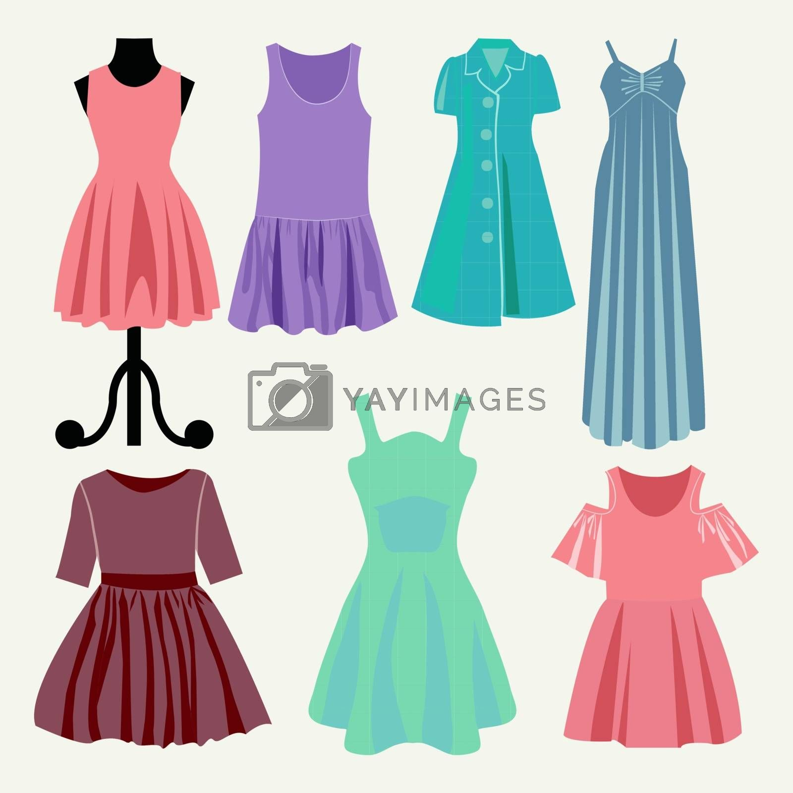 Vector Fashion beautiful clothes collection women's summer dresses - Illustration. Fashion boutique - Illustration
