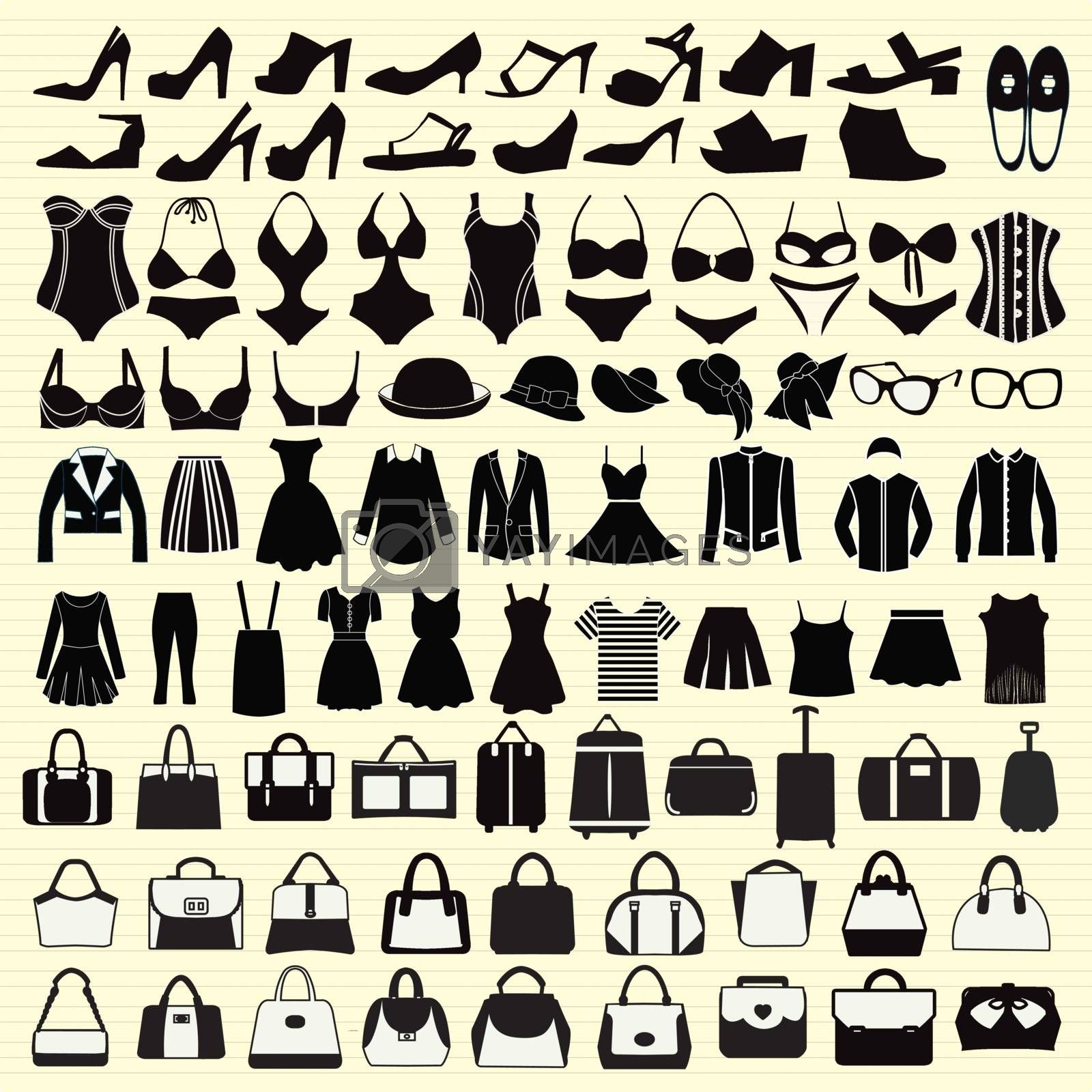 Vector icons set of Fashion woman clothing and accessories-illustration silhouette