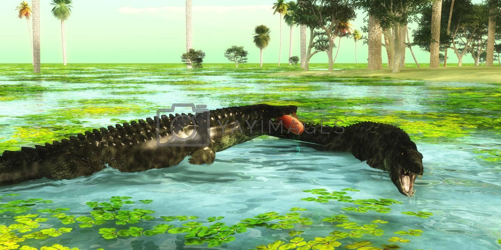 Uberabasuchus reptiles catch fish in a tropical region of Brazil in the Cretaceous Period.