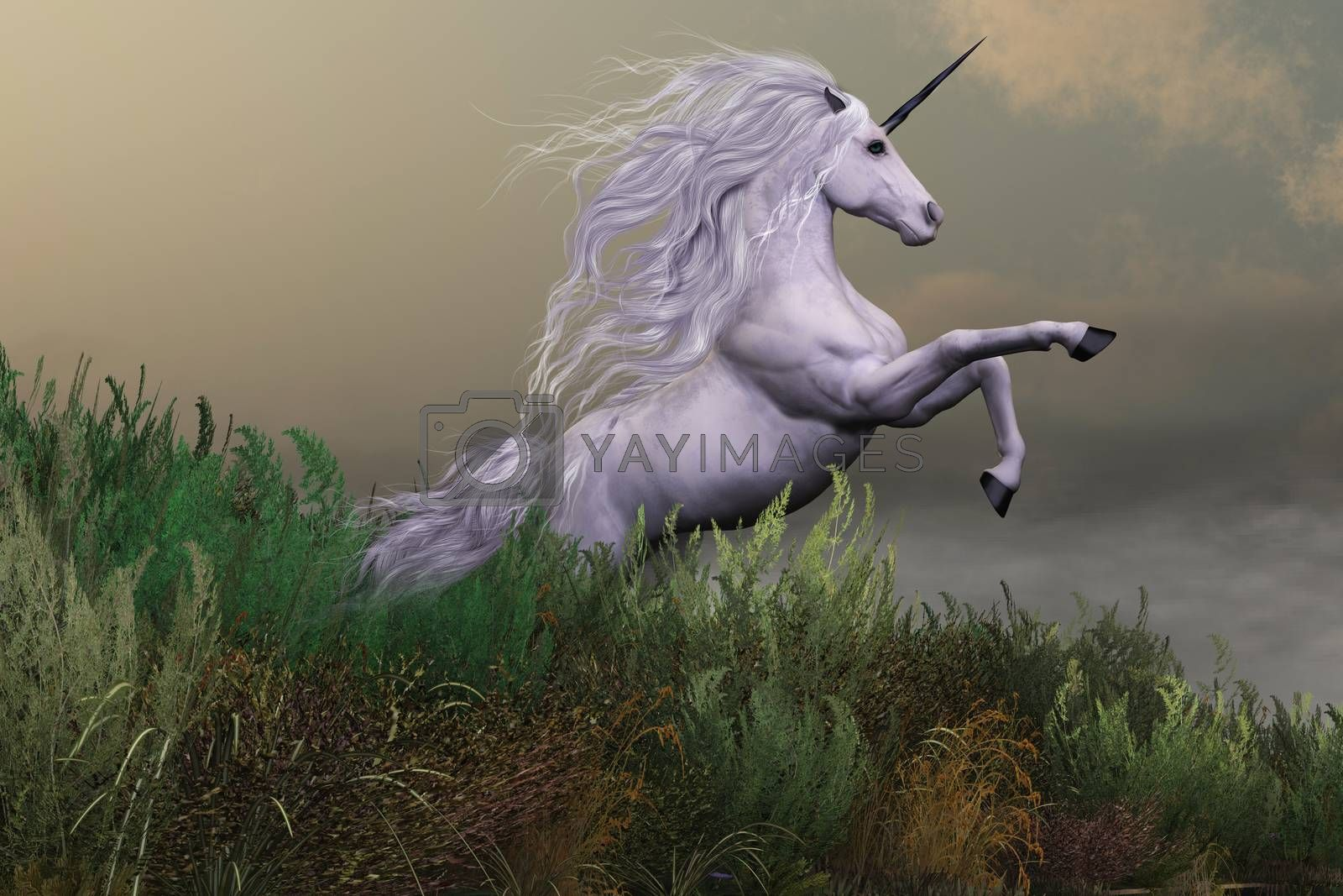 A white unicorn stallion rears up with power and majesty on a hilltop of a mountain range.