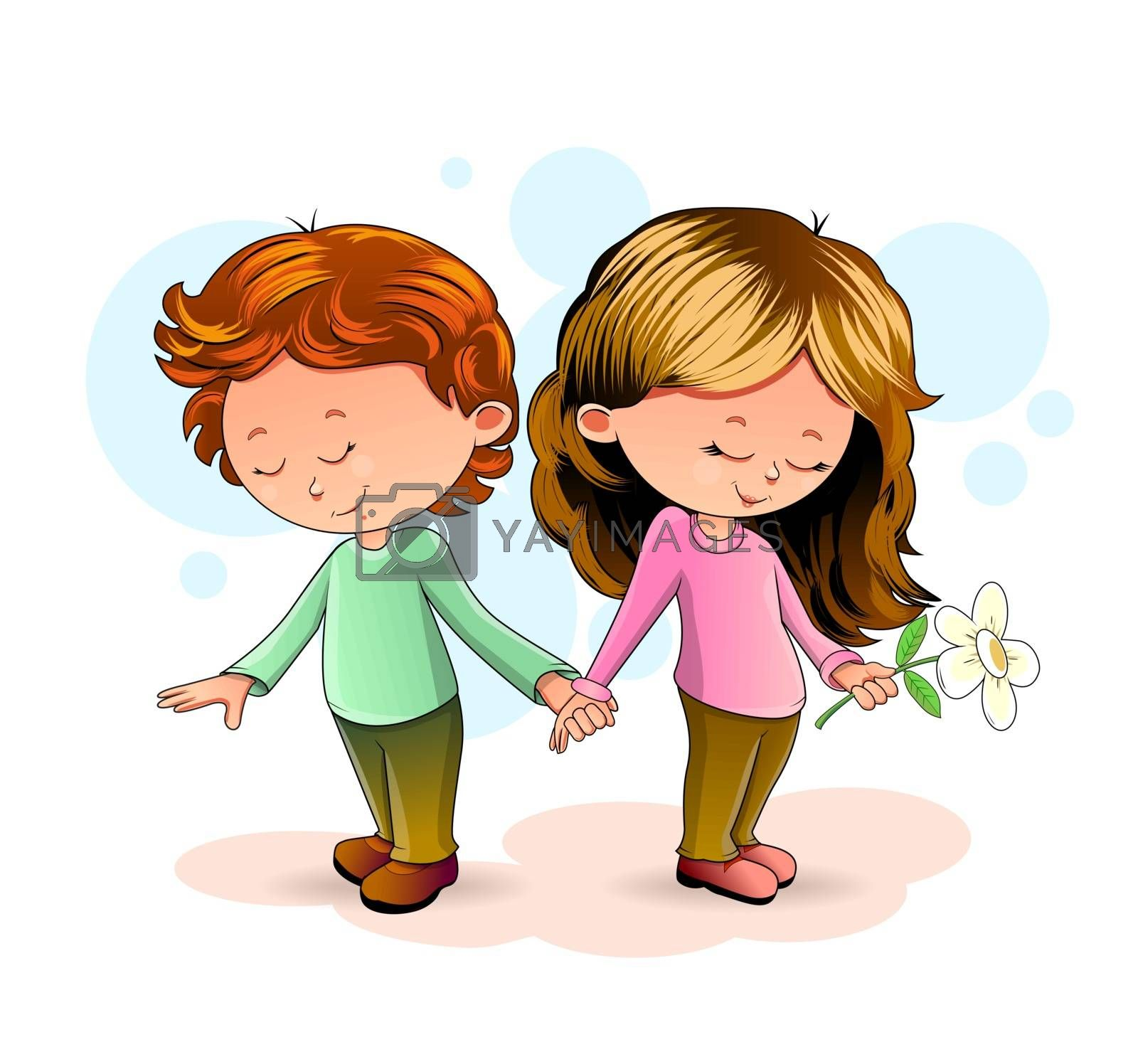 Girl and boy standing together and holding hands.