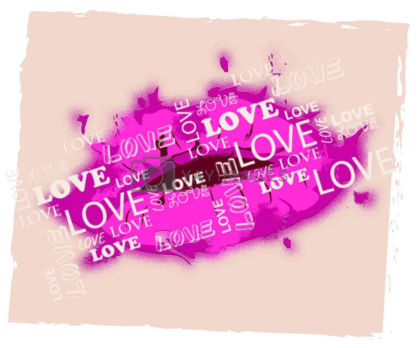 Love Lips Representing Valentine Romance And Celebration