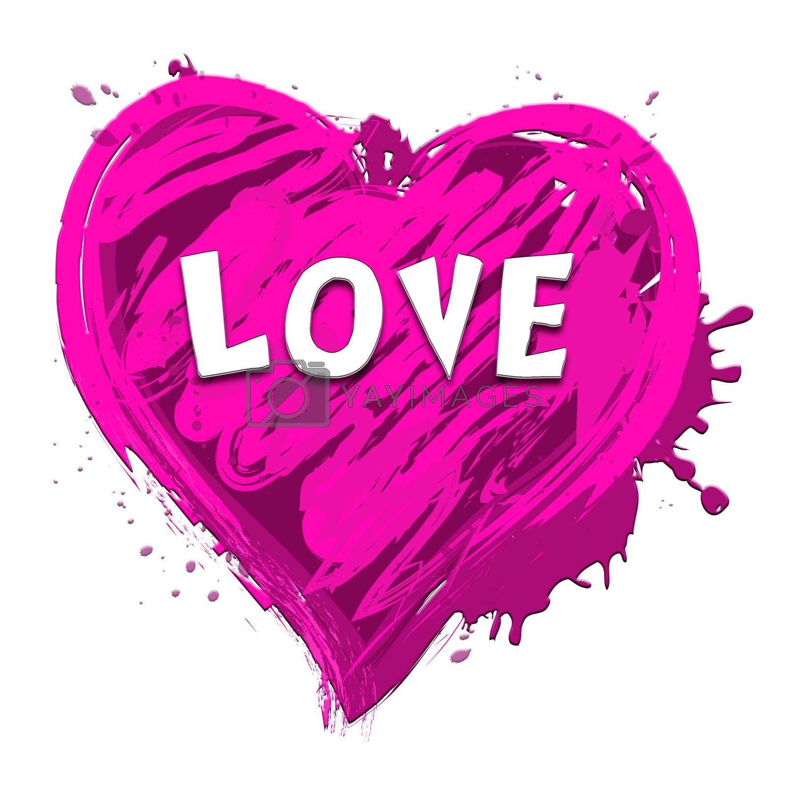 Love Heart Design Showing Valentine Romance 3d Illustration