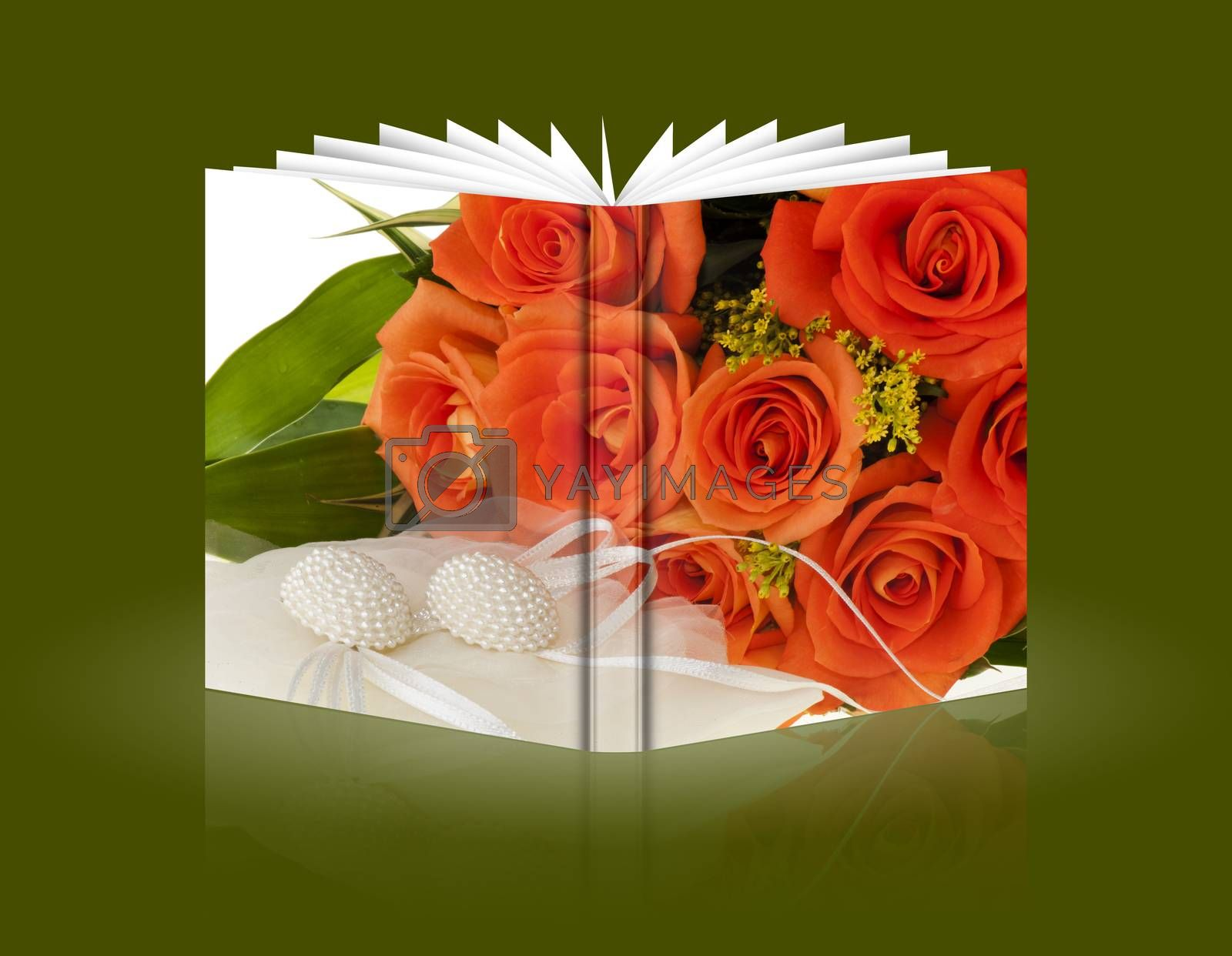 book of flowers and gift for a Valentine's Day