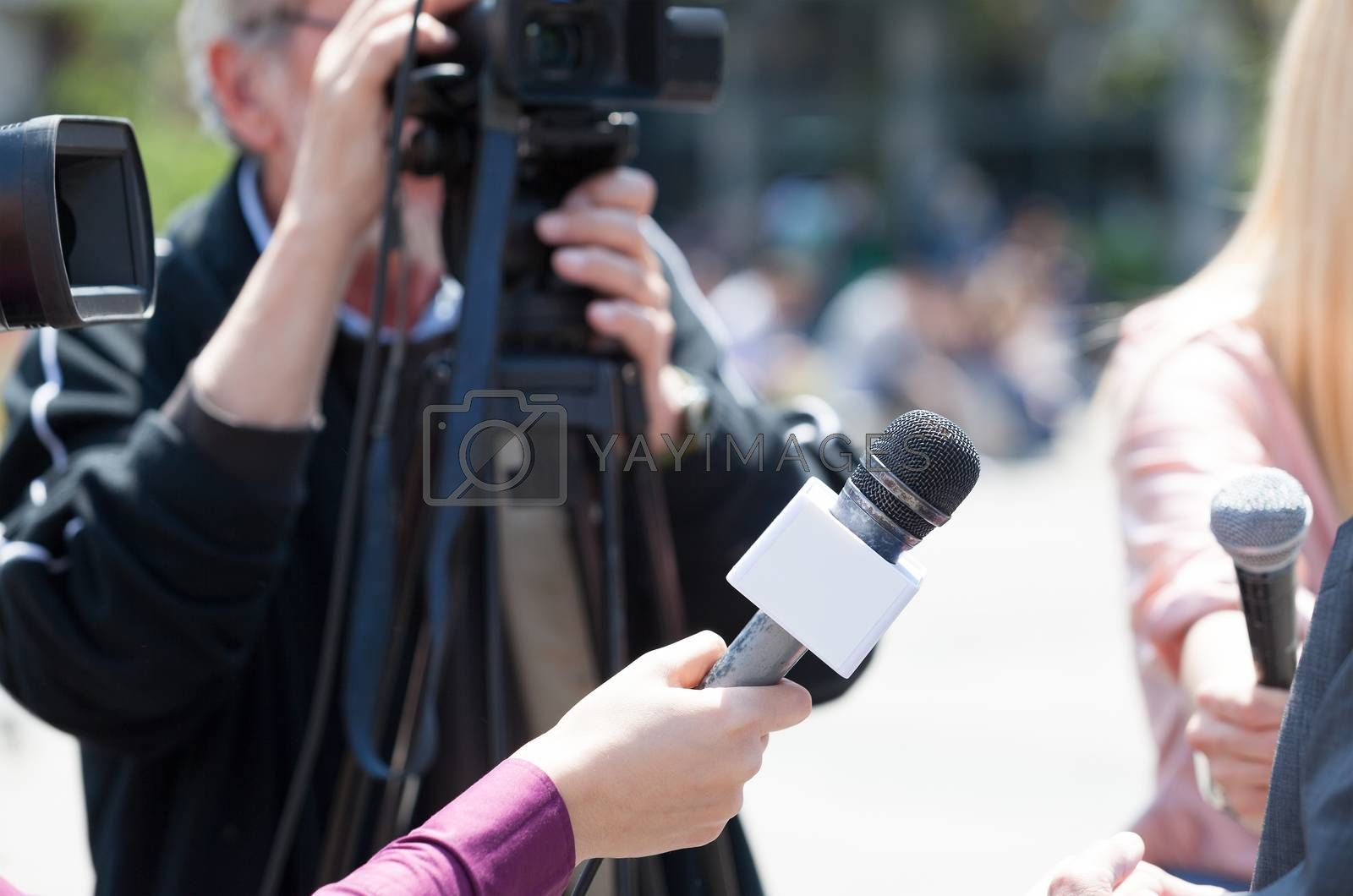 Journalists holding microphones conducting TV interview. News conference.