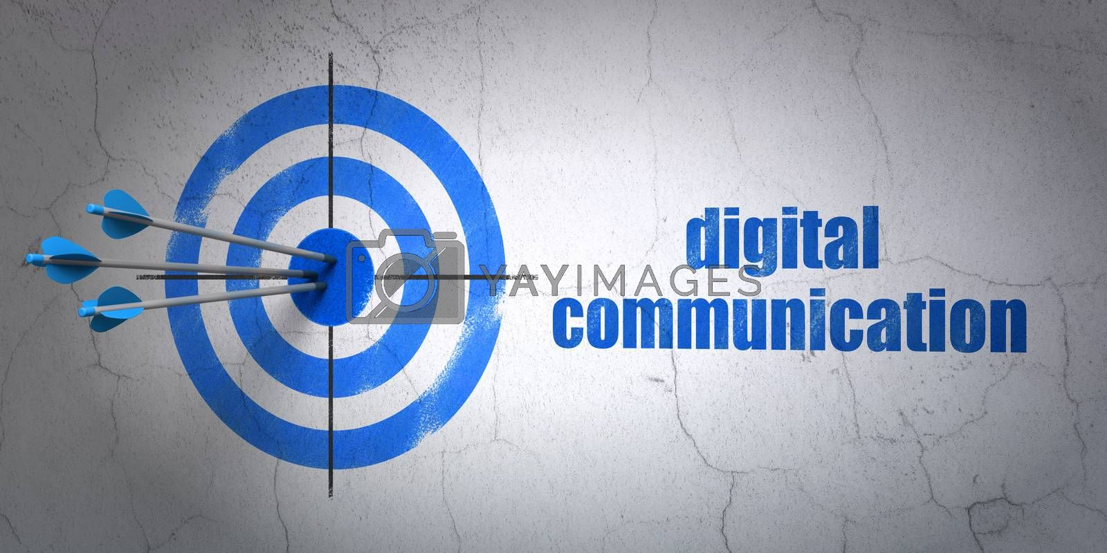 Success Data concept: arrows hitting the center of target, Blue Digital Communication on wall background, 3D rendering