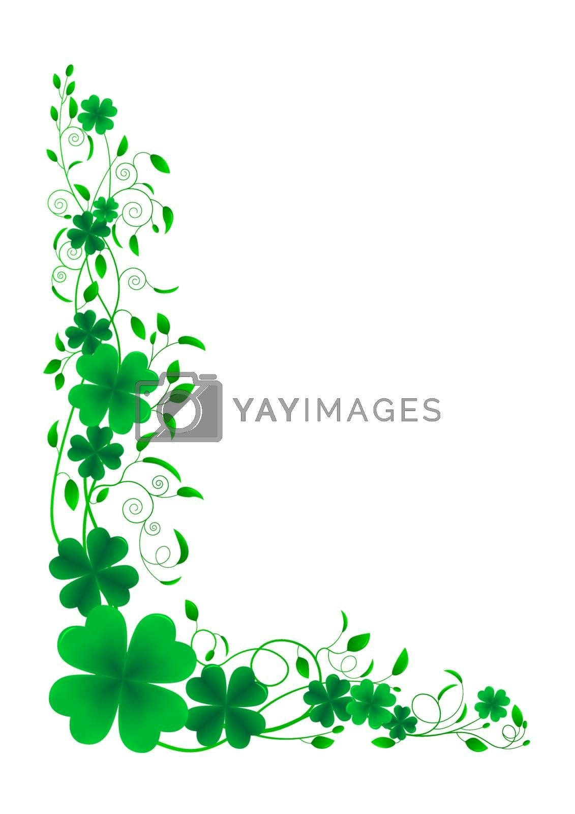 Floral ornament leaf clover on a white background.