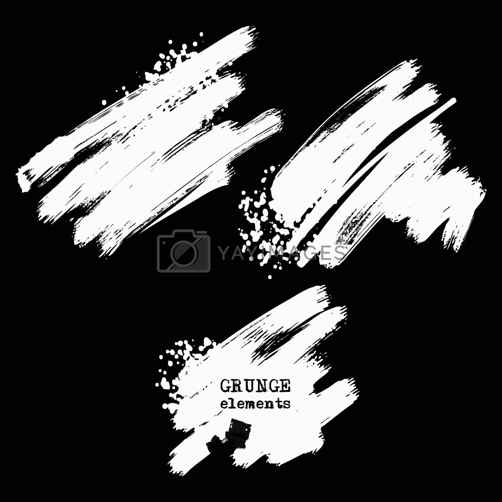 Vector set of white brush strokes on black background. Grunge isolated elements. Texture brushes for your design. Freehand. Watercolor splash. Acrylic stamp. Vector illustration