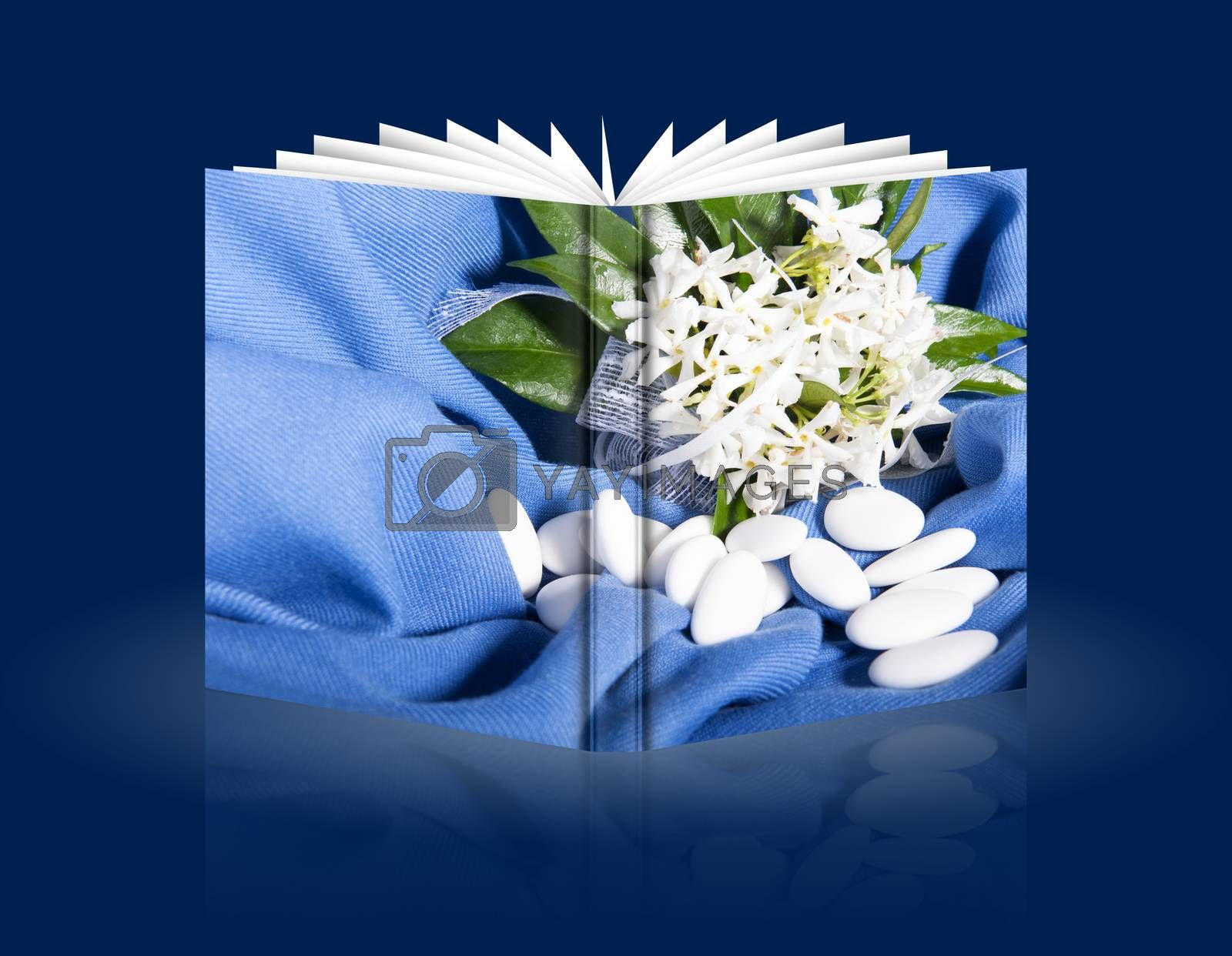 book of composition of flowers and candy  for wedding day