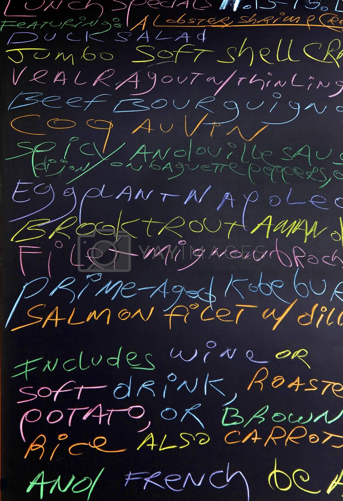 Menu written with chalk on a blackboard