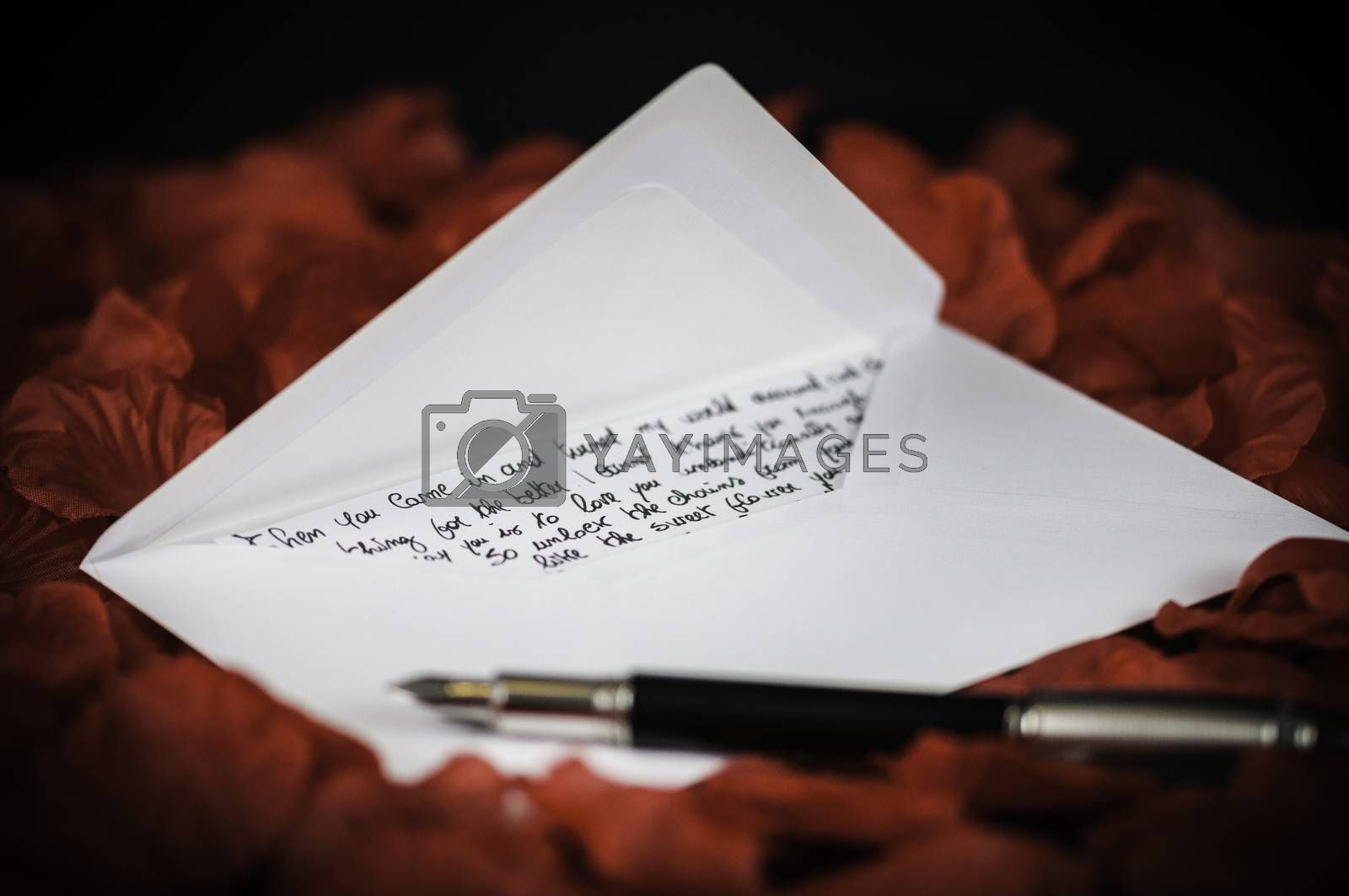 love letter on red rose petals and black background