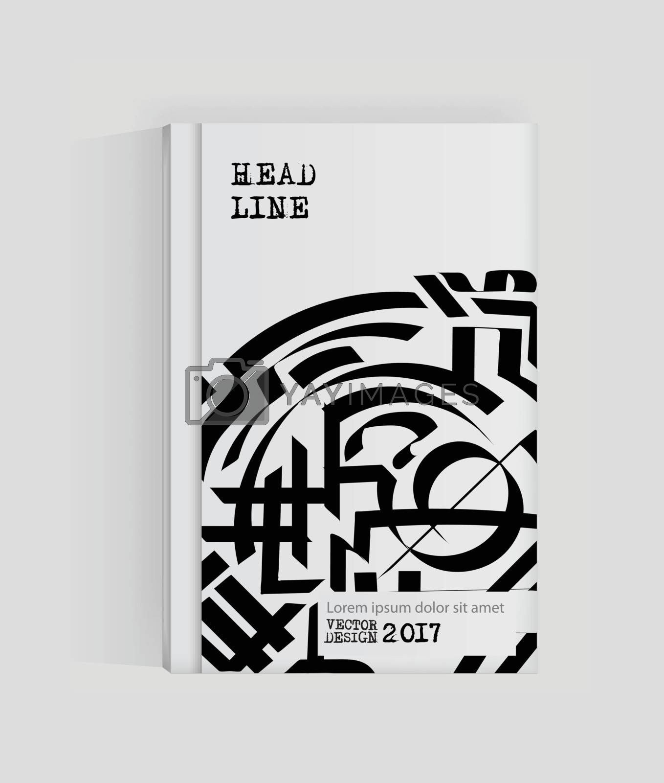 Monochrome abstract design. Strip paint on brochure, Graffiti element isolated on white. Calligraphic banner paints. Liquid ink. Background for banner, card, poster, identity,web design.