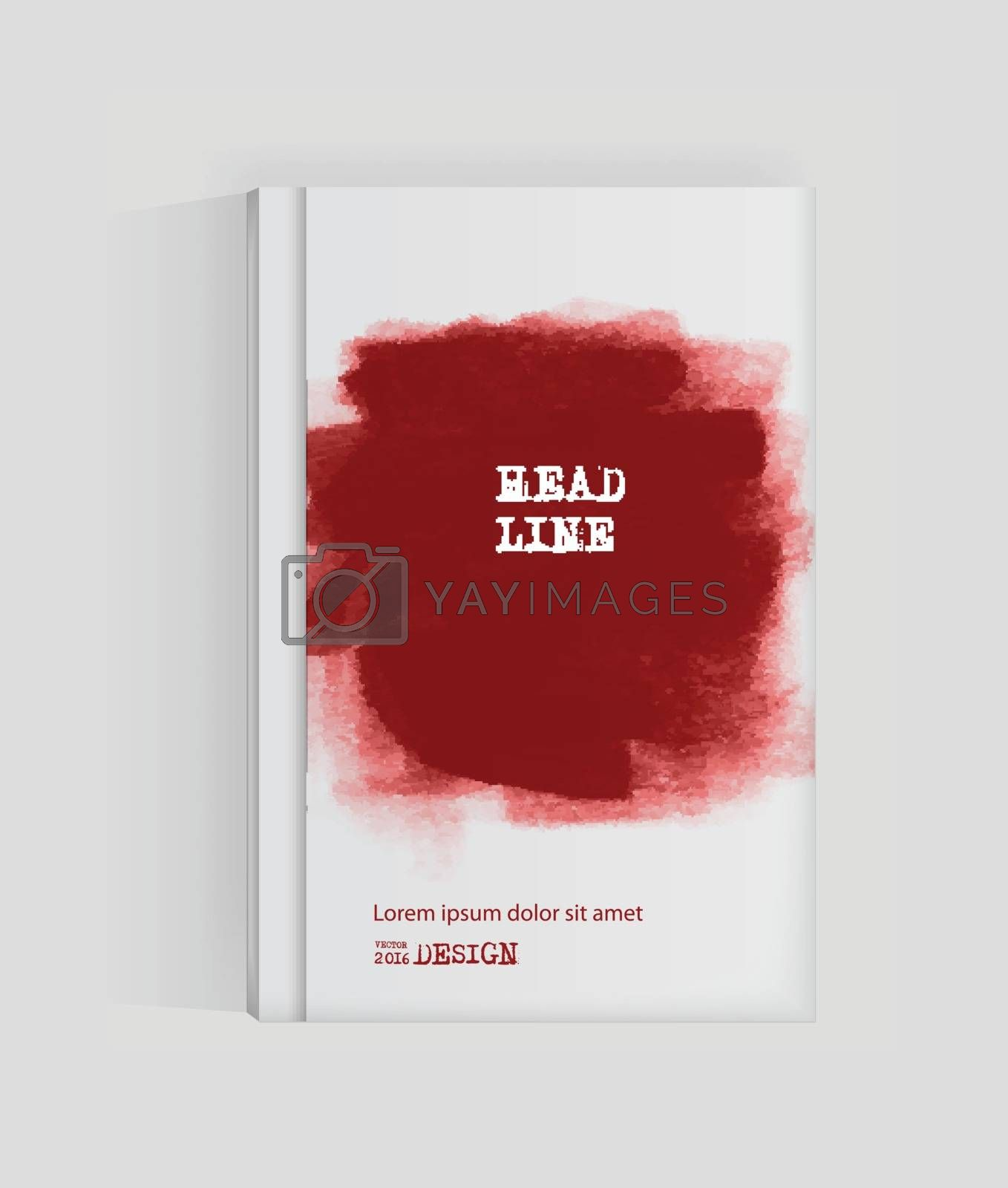 Red abstract design. Ink paint on brochure, Blood element isolated on white. Grunge banner paints. Simple composition. Liquid ink. Background for banner, card, poster, identity,web design.