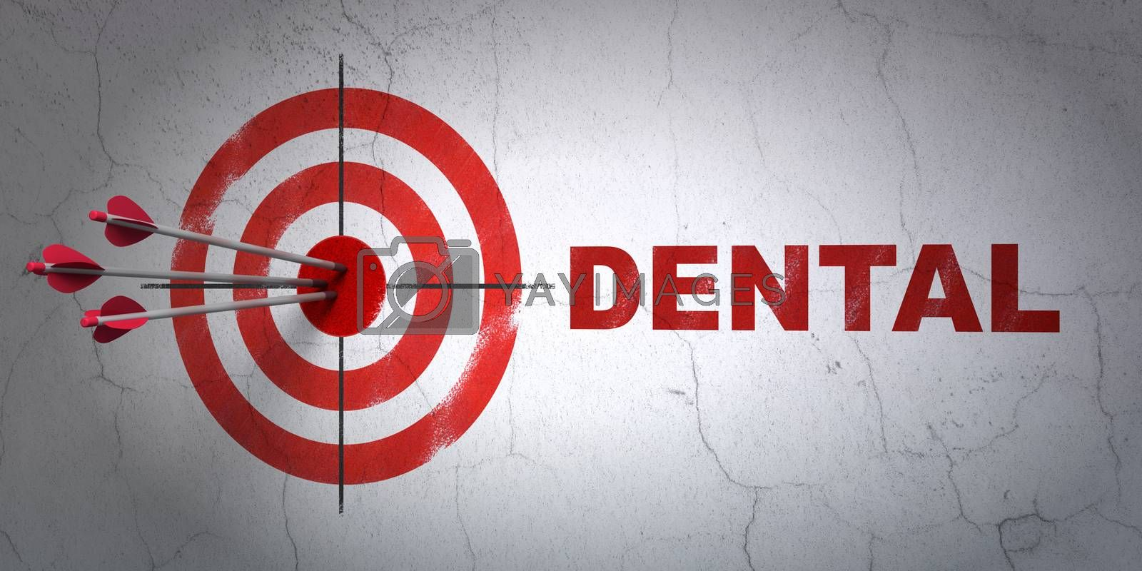 Success Medicine concept: arrows hitting the center of target, Red Dental on wall background, 3D rendering