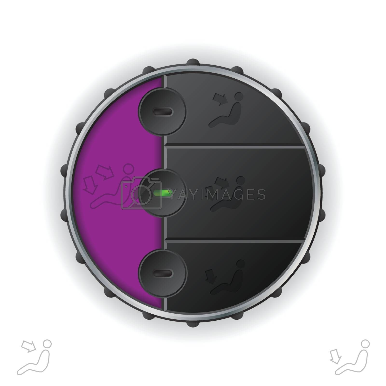 Car clima air flow control with purple lcd