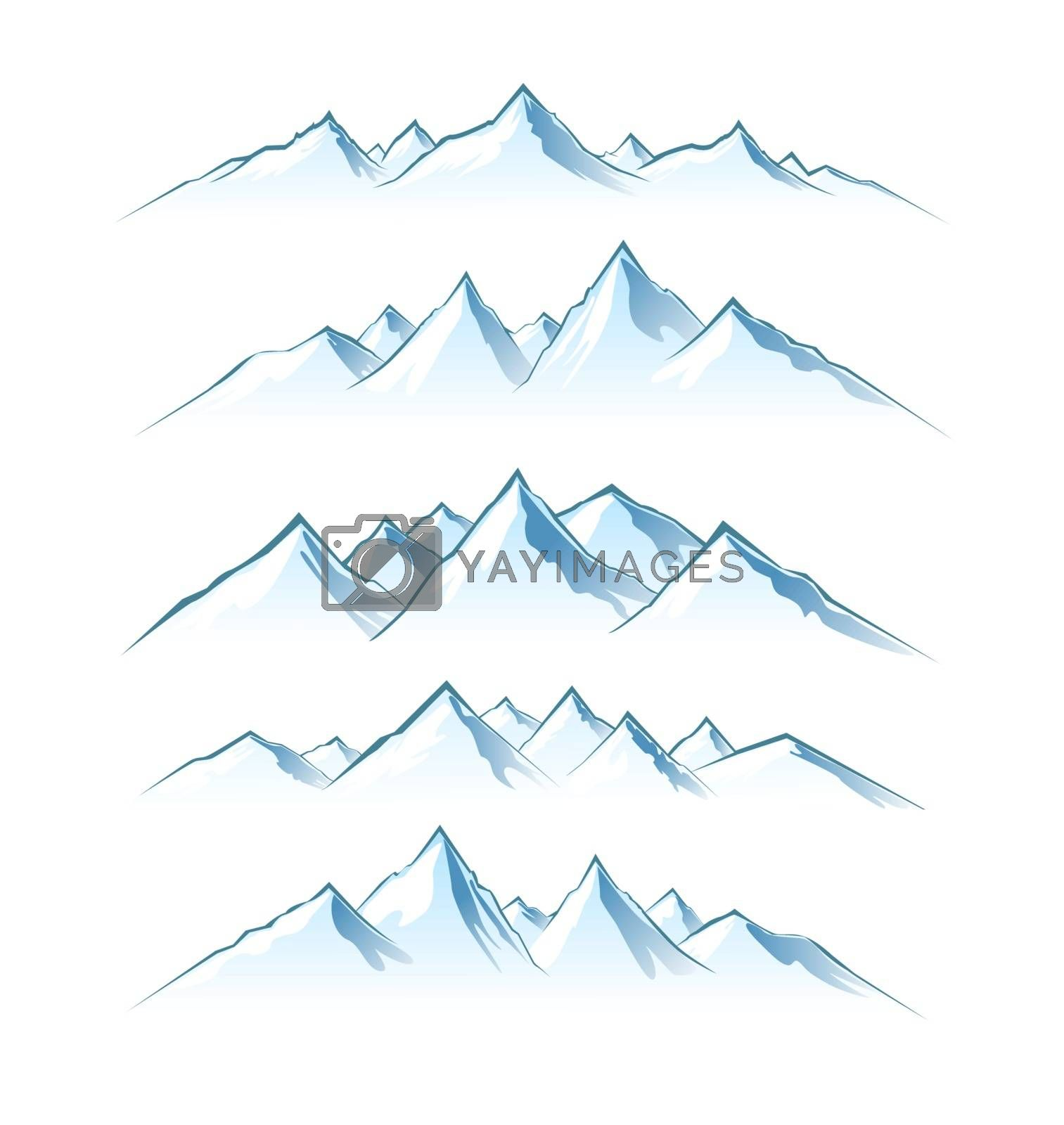 Silhouettes of mountain peaks on a white background. Mountain landscape .