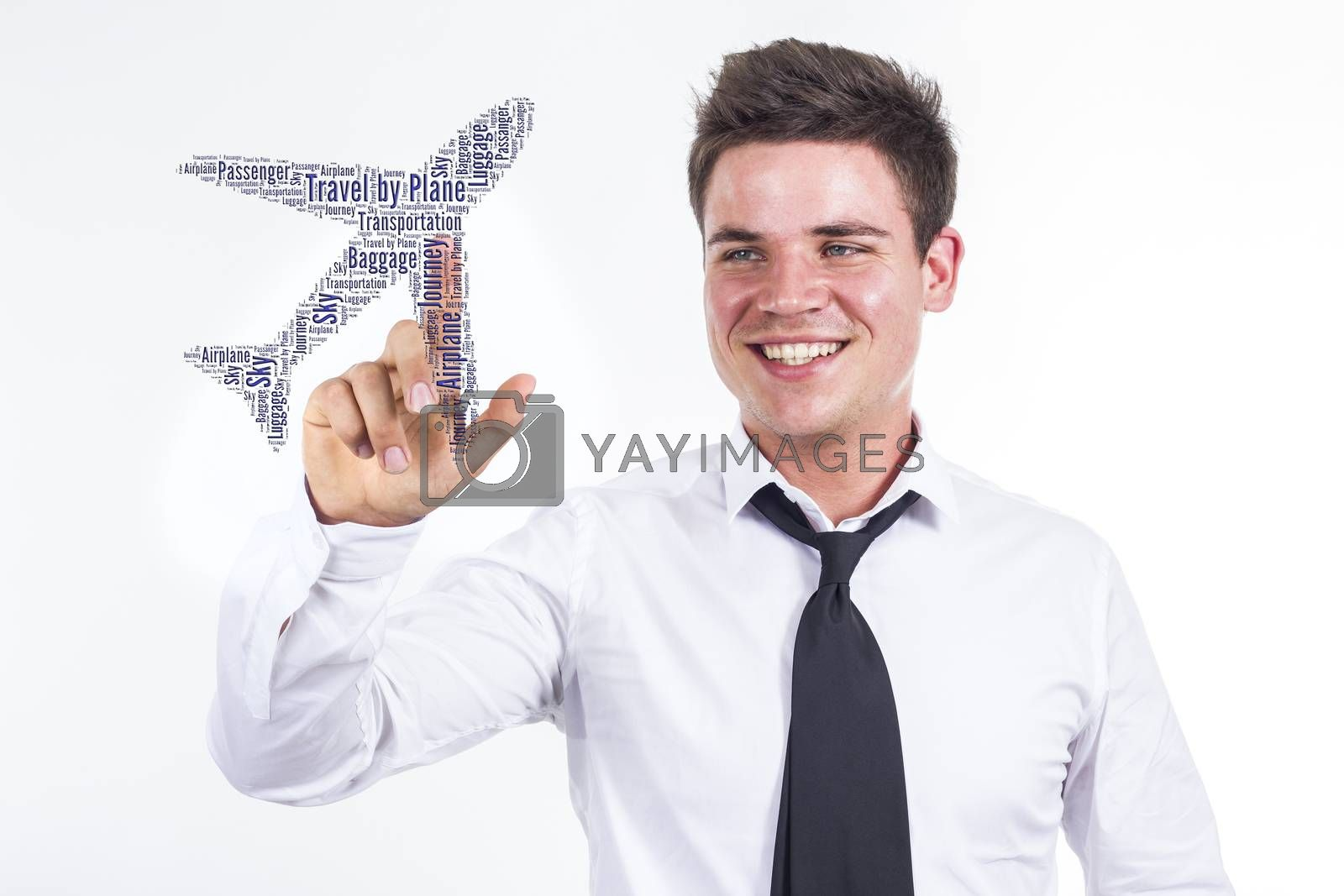 Travel by Plane - Young businessman touching word cloud  - horizontal image