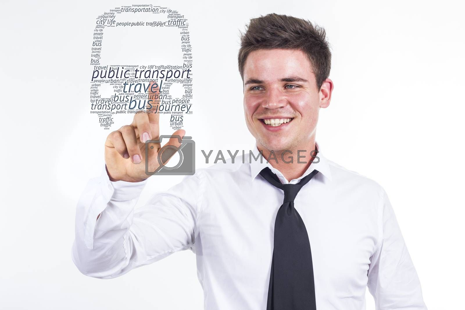Public transport  - Young businessman touching word cloud - horizontal image