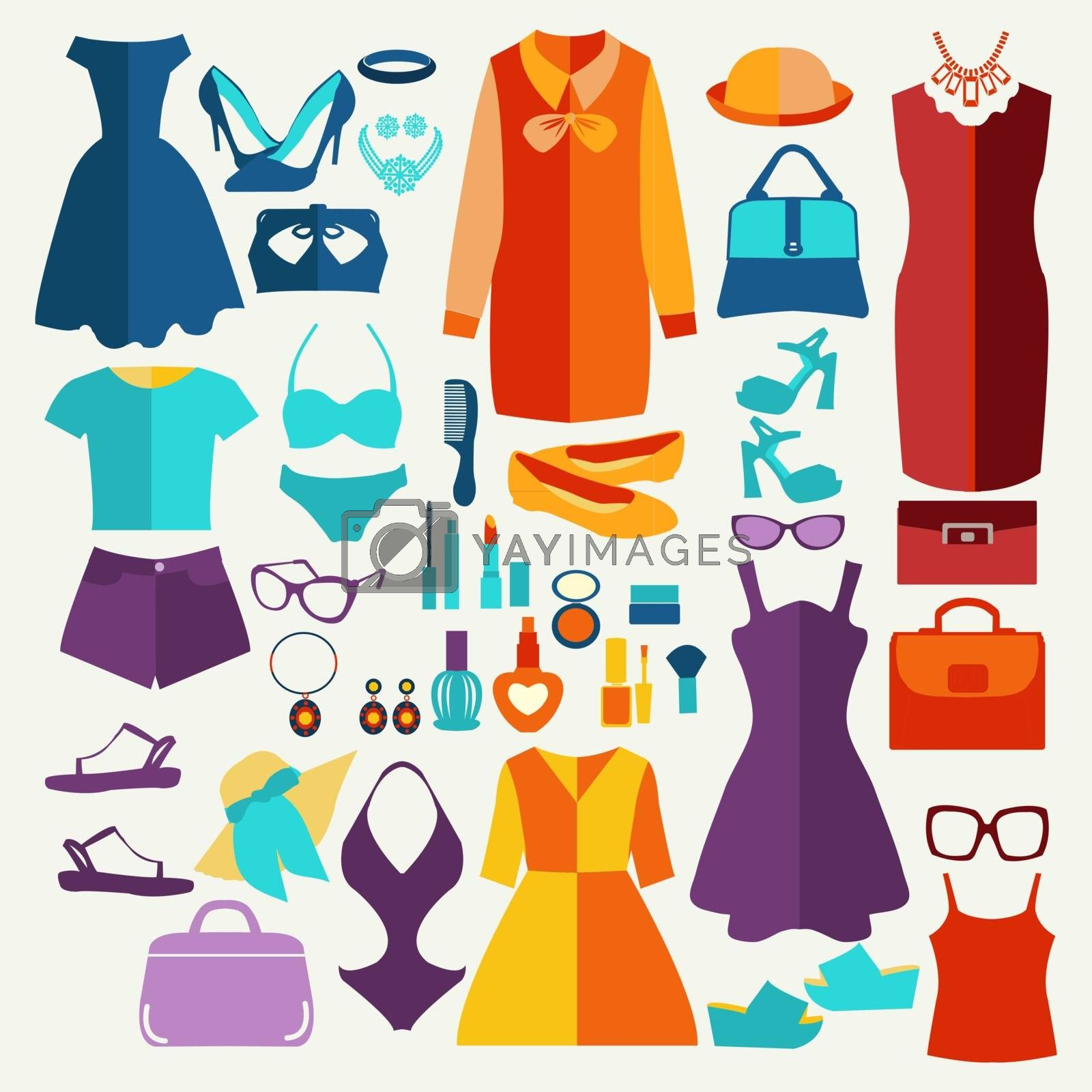 Vector fashion illustration, women summer clothing in  flat style. Fashion boutique  for design fashion look - Illustration