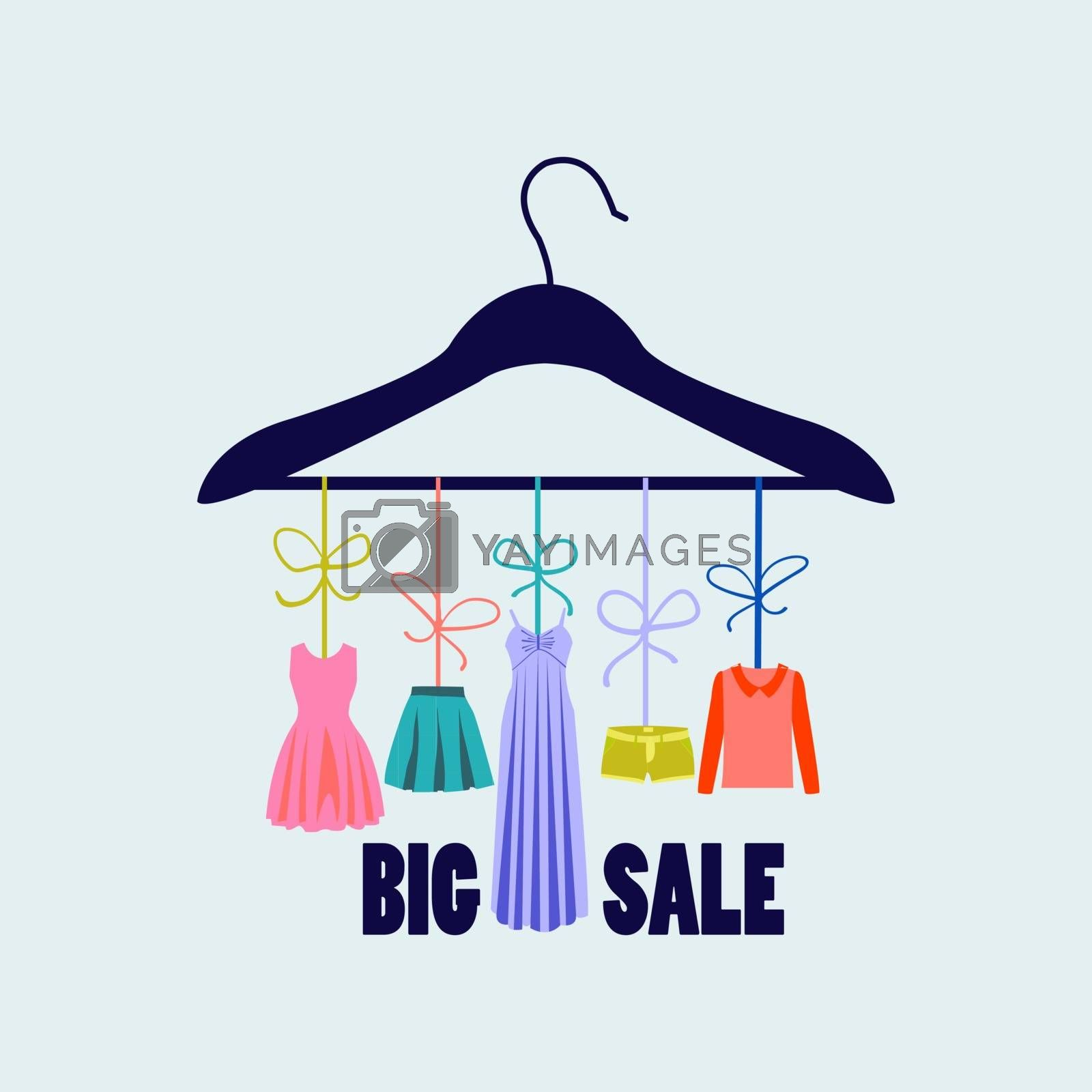 hanger with fashion women summer clothing.  Fashion boutique  for design fashion