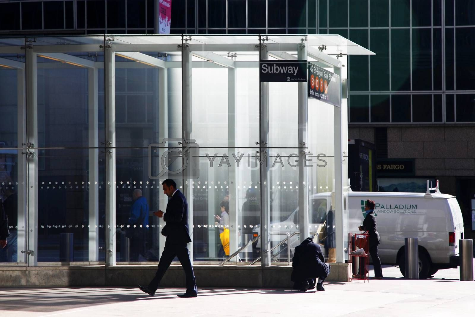 NEW YORK, USA - October 11, 2012: Subway entrance in Times Square in New York City. Manhattan, New York City.