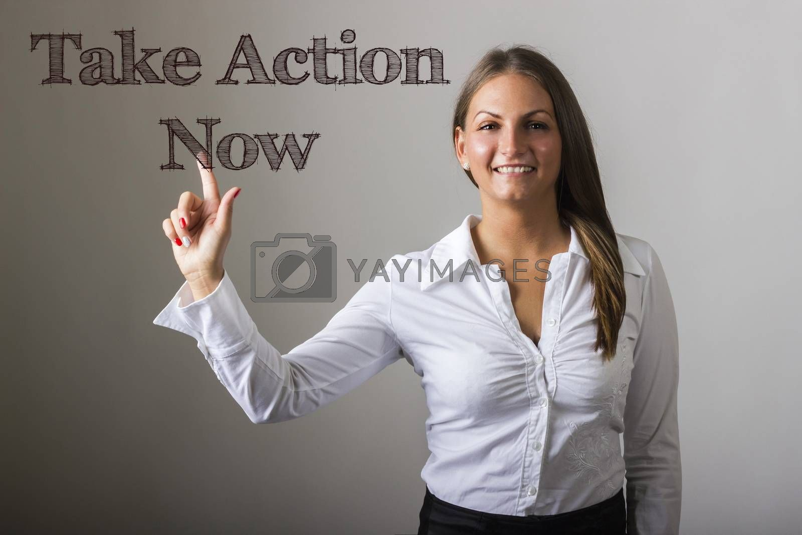 Take Action Now - Beautiful girl touching text on transparent surface - horizontal image