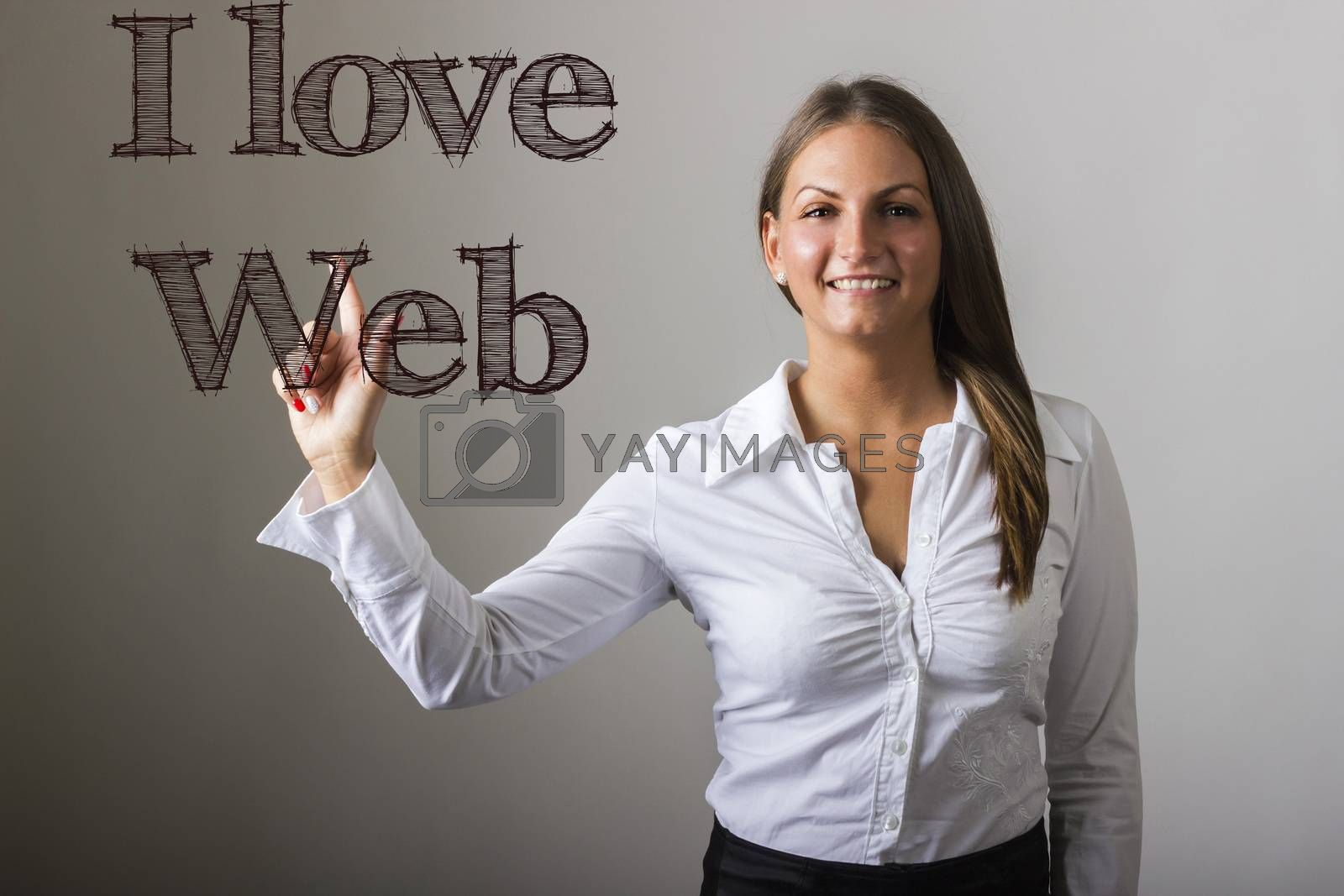 I love web  - Beautiful girl touching text on transparent surface - horizontal image