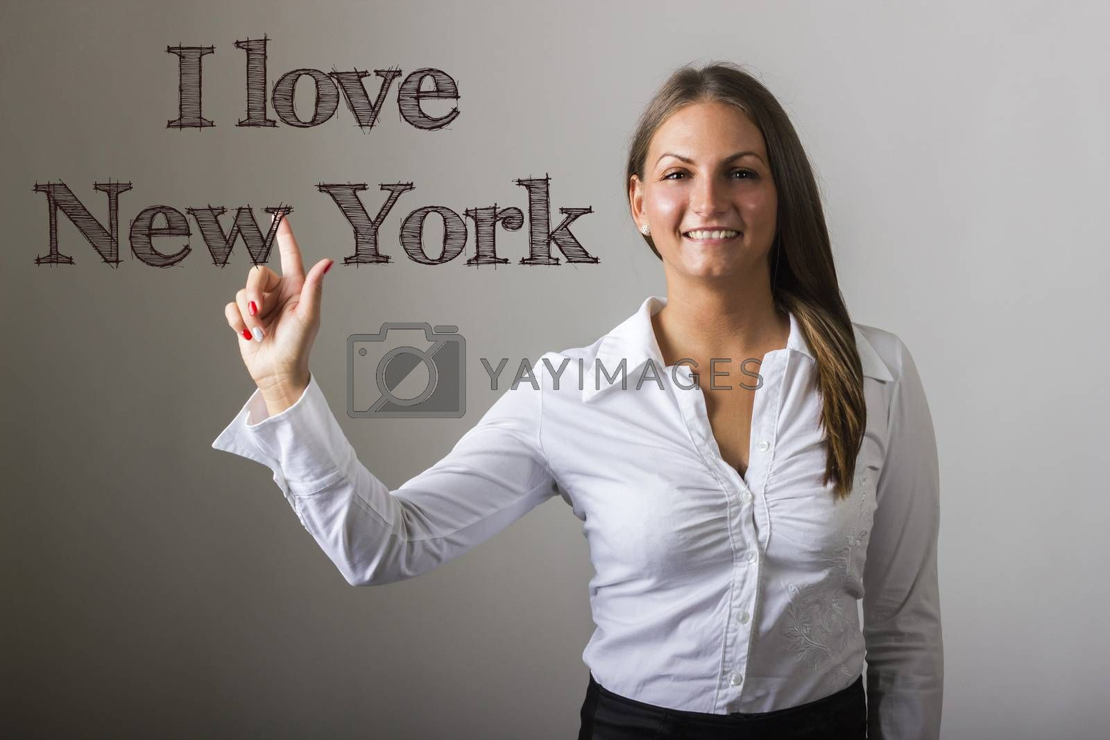 I love New York - Beautiful girl touching text on transparent surface - horizontal image