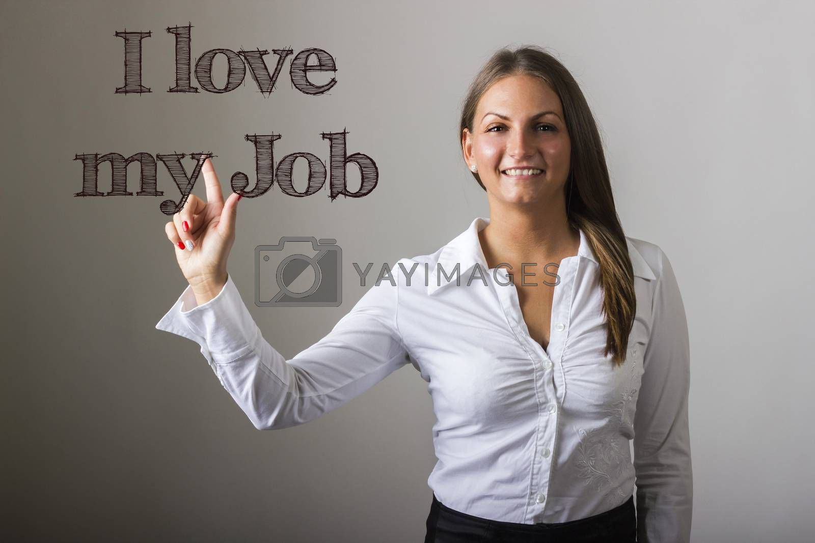 I love my Job - Beautiful girl touching text on transparent surface - horizontal image