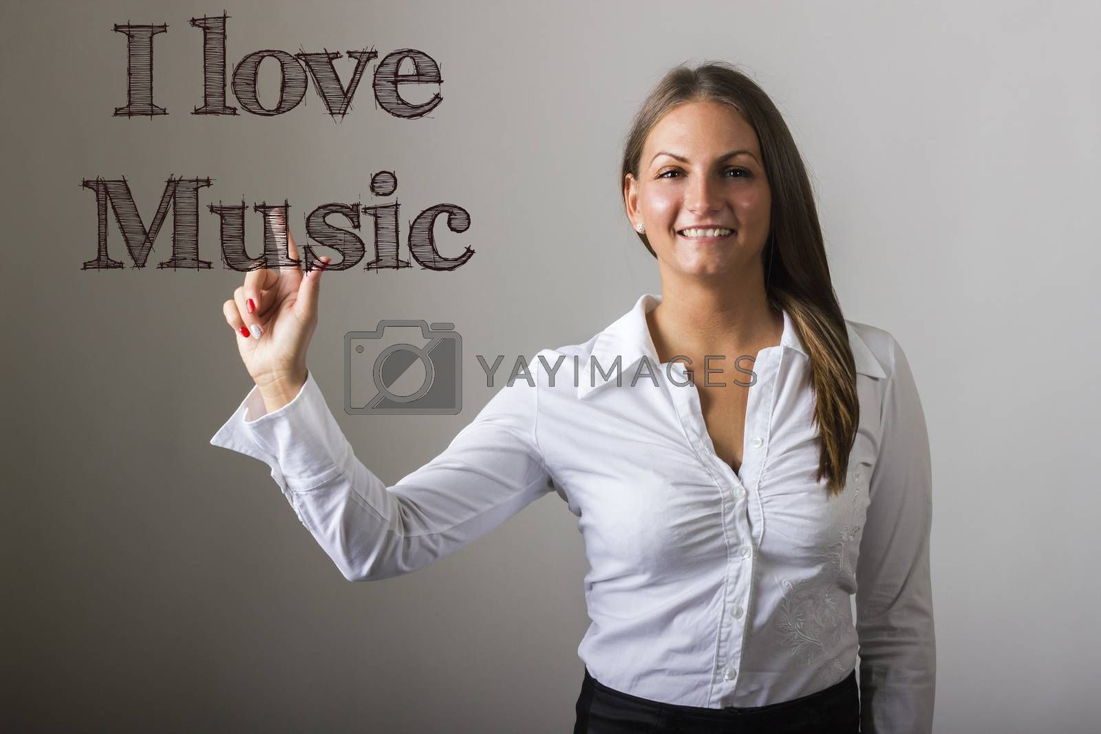 I love Music - Beautiful girl touching text on transparent surface - horizontal image