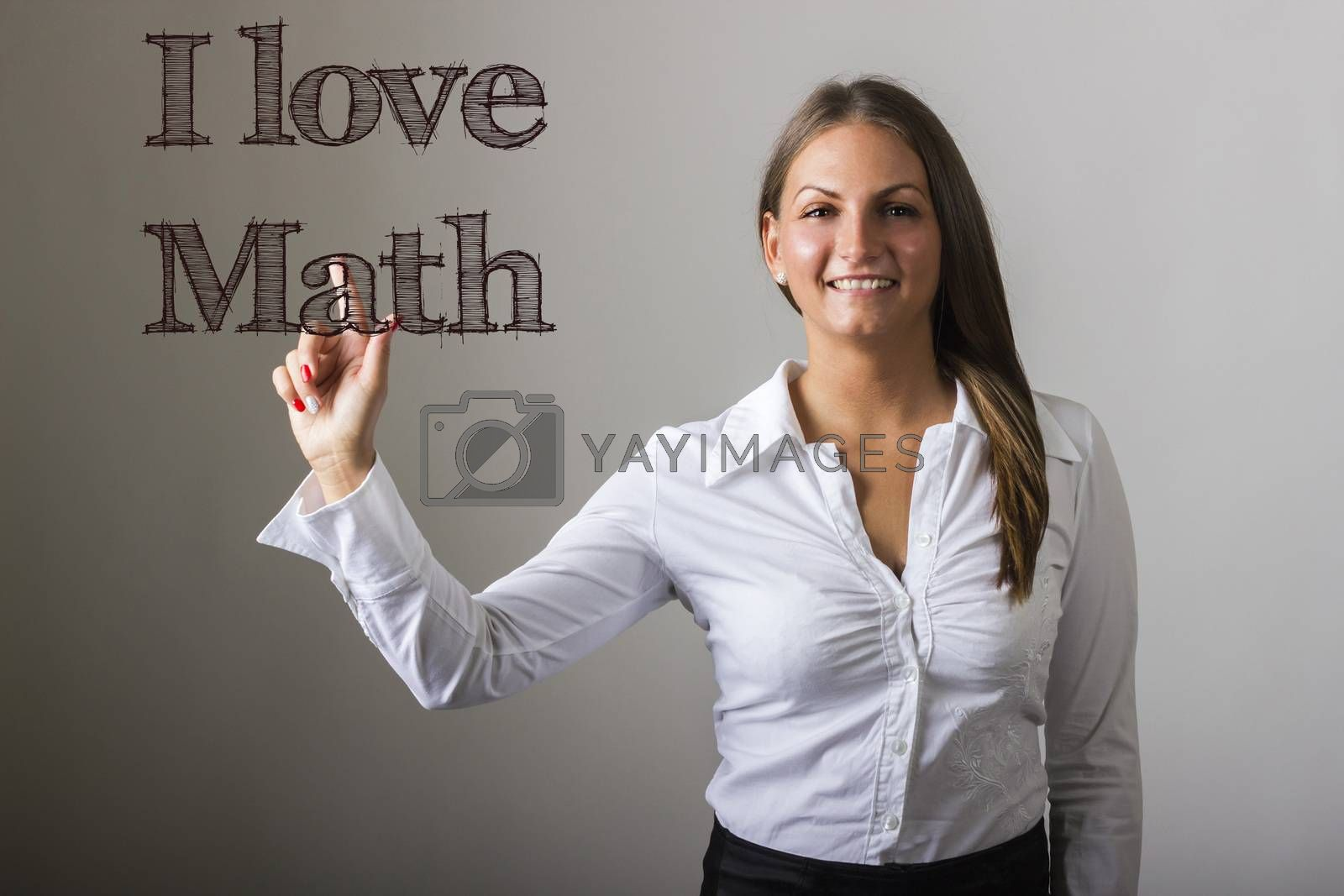 I love Math - Beautiful girl touching text on transparent surface - horizontal image