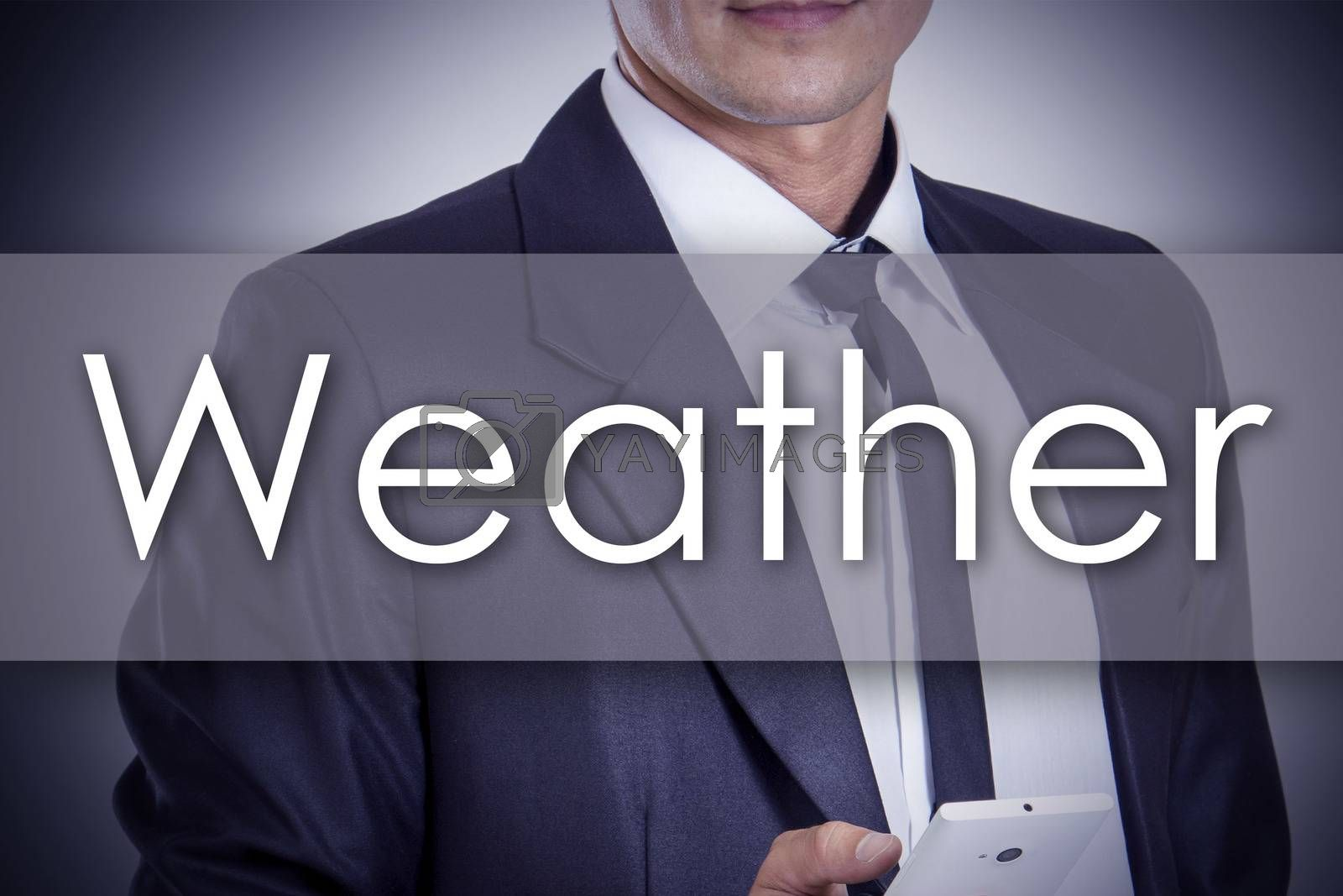 Weather - Young businessman with text - business concept - horizontal image